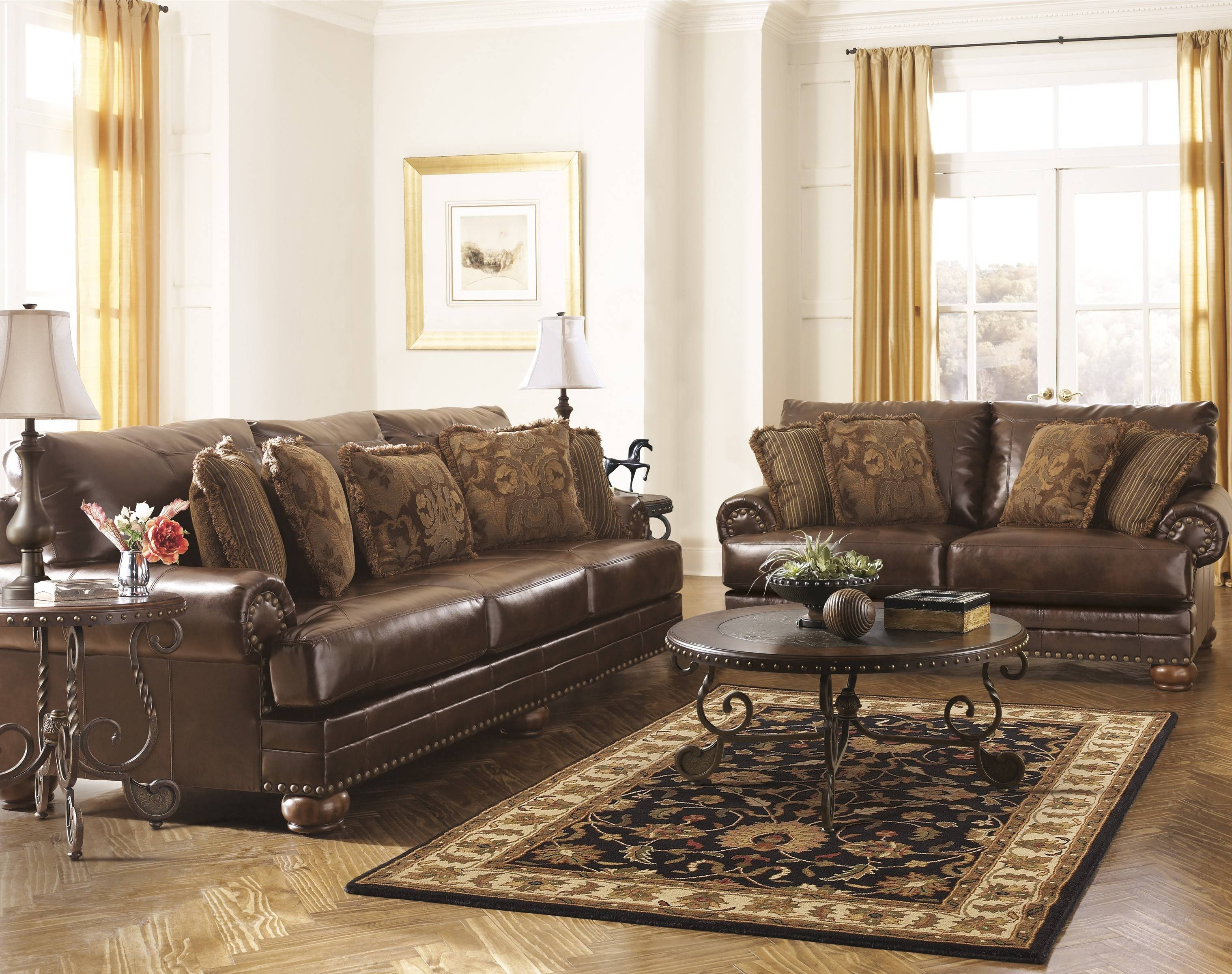 Ashley Brown Leather Durablend Antique Sofaashley Furniture intended for Antique Sofa Chairs (Image 6 of 30)