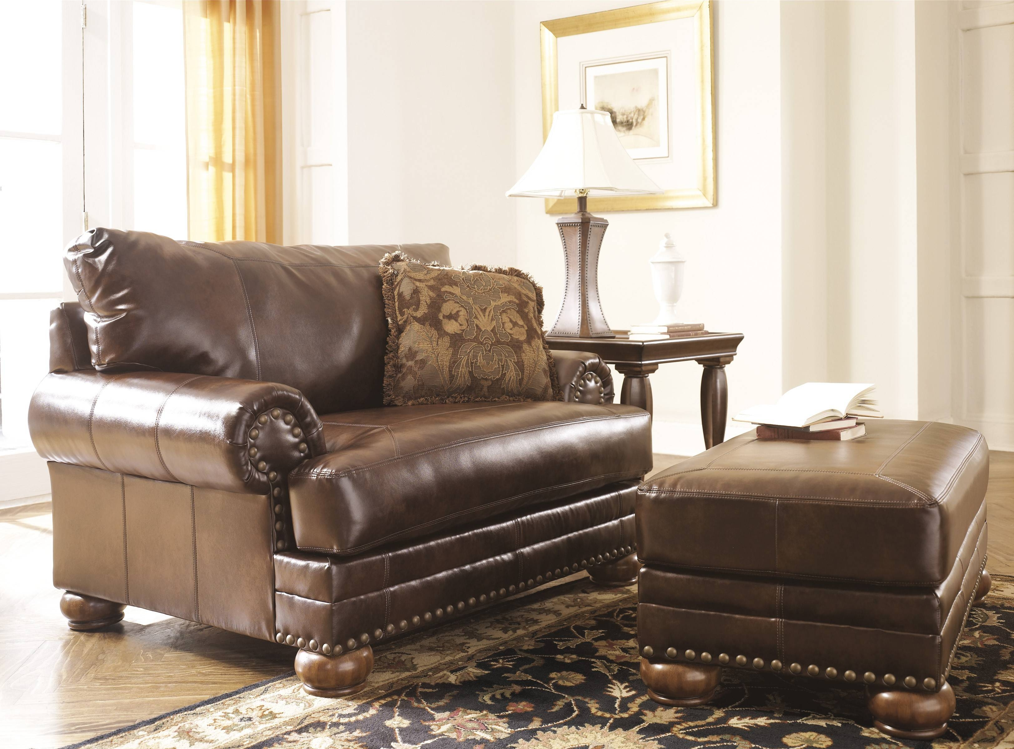 Ashley Brown Leather Durablend Antique Sofaashley Furniture with regard to Antique Sofa Chairs (Image 7 of 30)