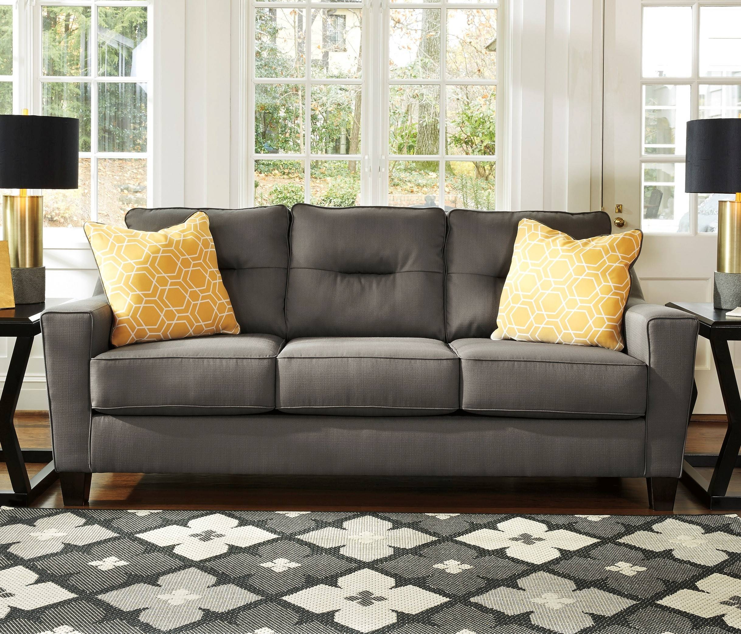 Ashley Furniture Forsan Gray Nuvella Fabric Upholstered Sofa With with regard to Ashley Furniture Gray Sofa (Image 5 of 30)