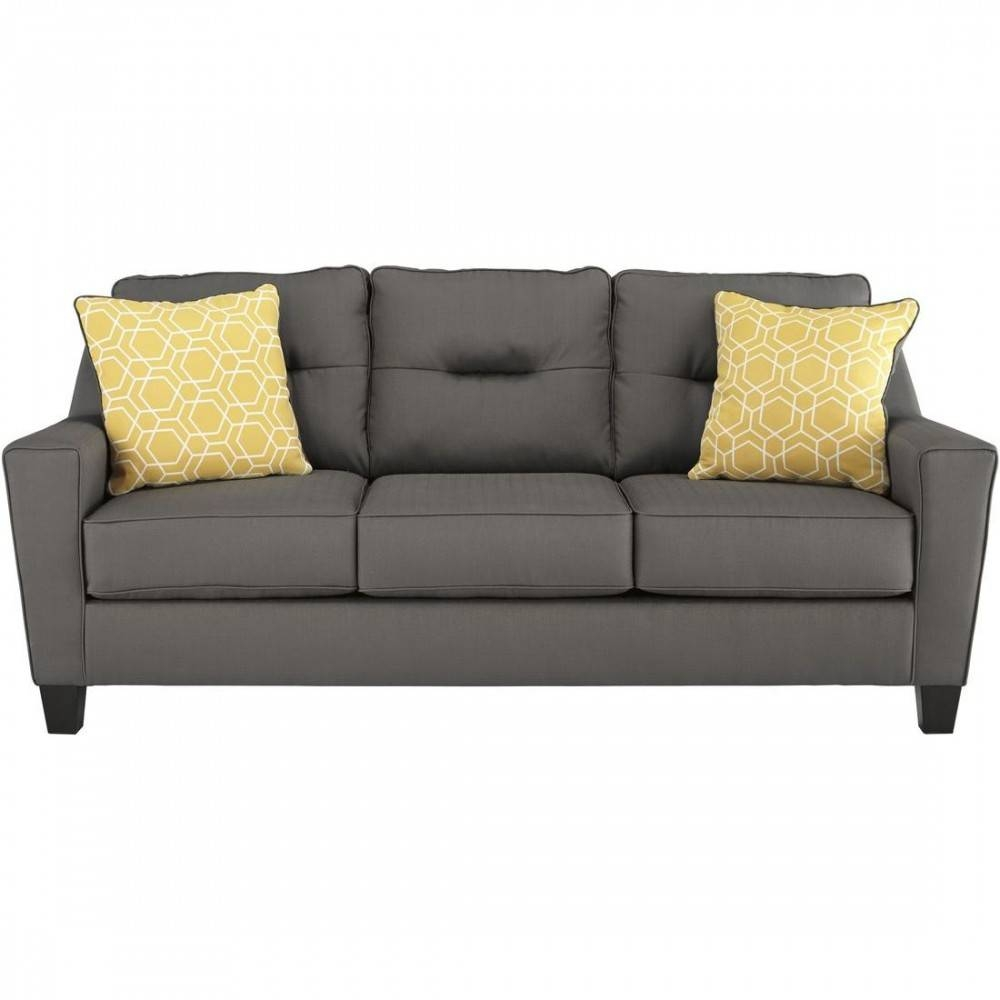 Ashley Furniture Forsan Nuvella Sofa In Gray with Ashley Furniture Gray Sofa (Image 6 of 30)