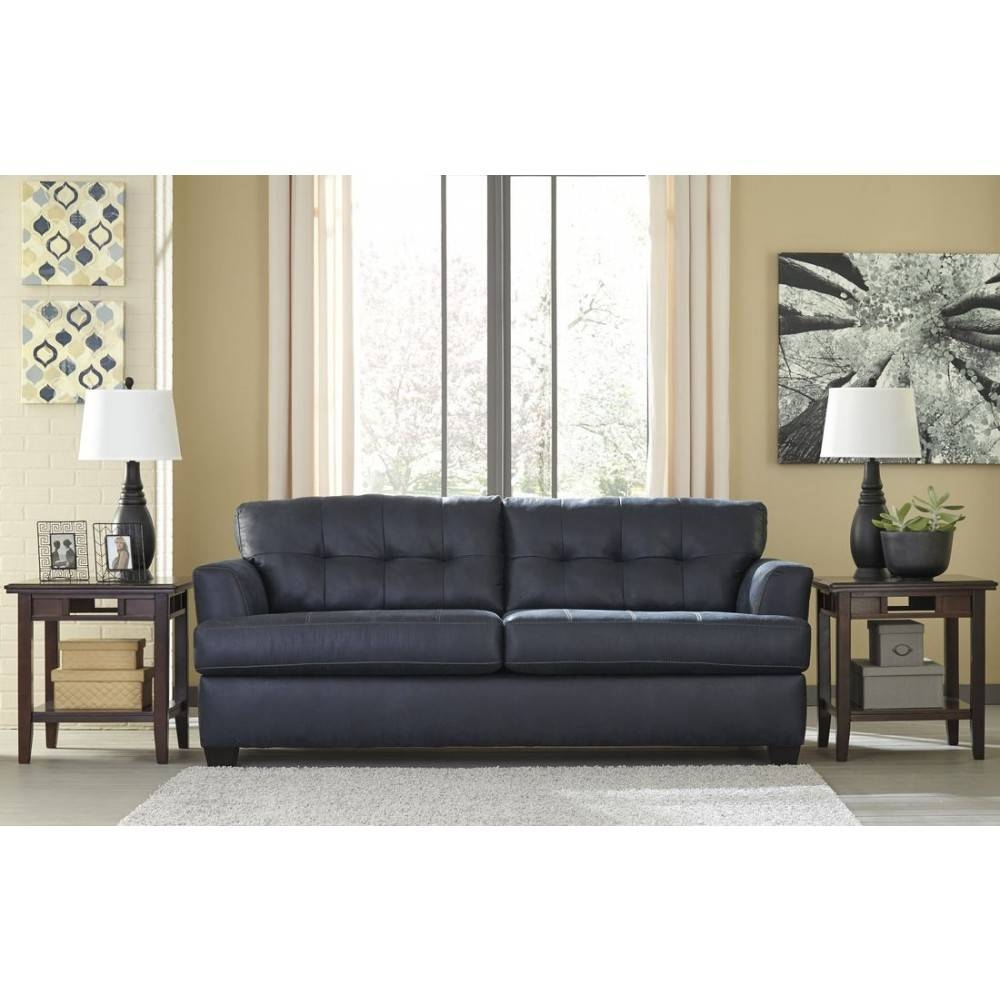 Ashley Furniture Inmon Sofa In Navy | Local Furniture Outlet inside Ashley Furniture Gray Sofa (Image 7 of 30)