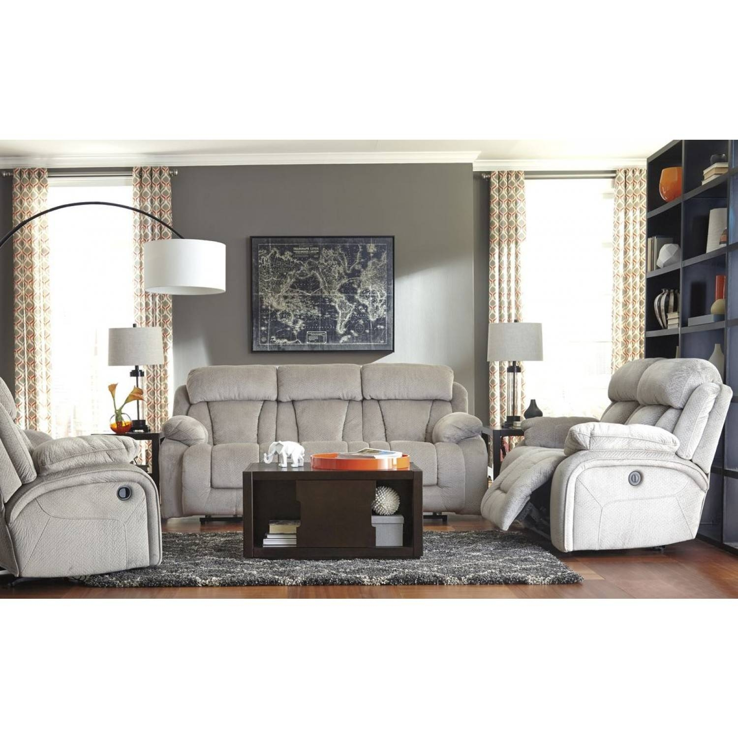 Ashley Furniture Stricklin Reclining Livingroom Set In Pebble pertaining to Ashley Furniture Gray Sofa (Image 10 of 30)