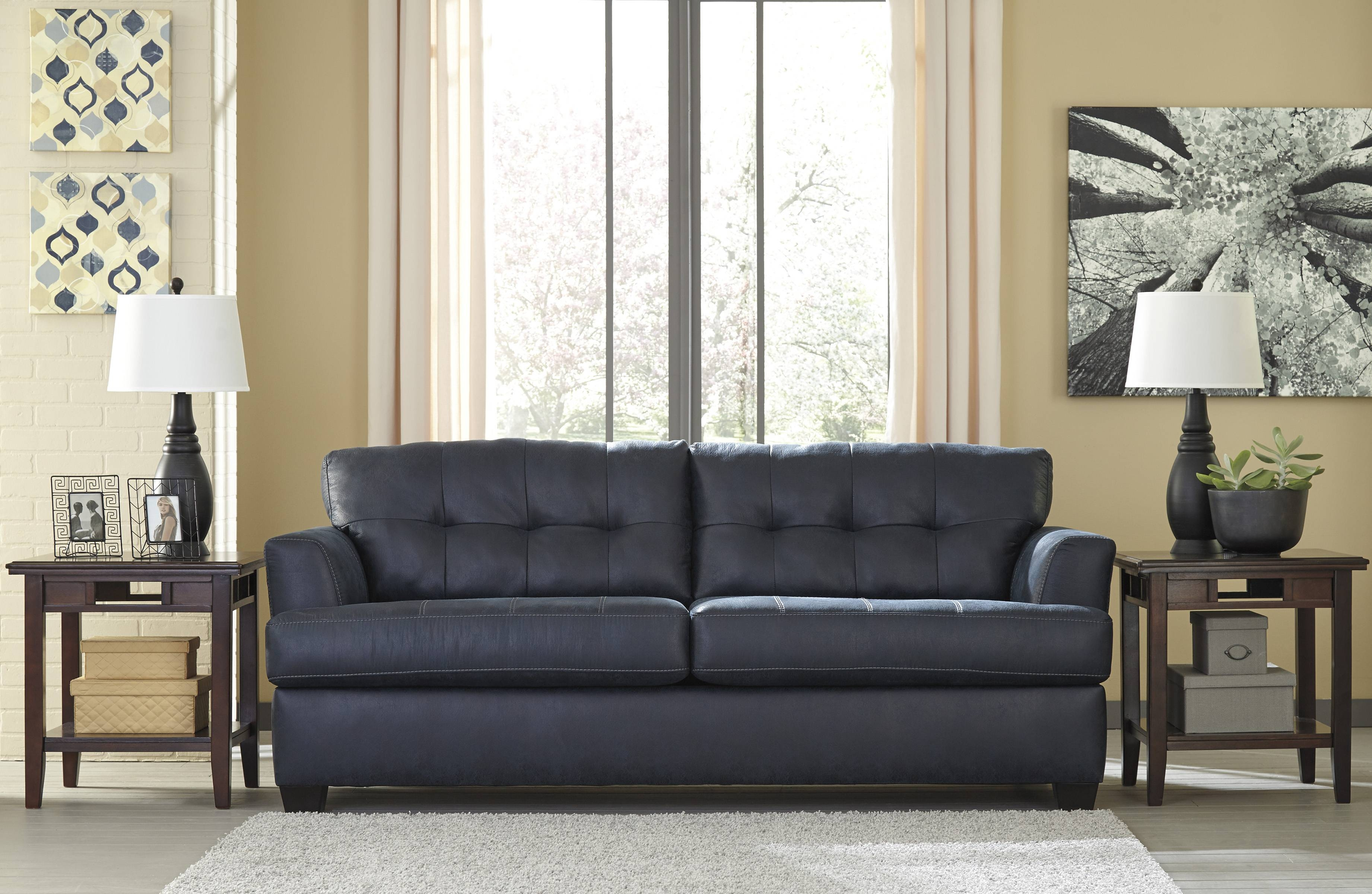 Ashley Inmon Navy Sofa And Love – Dream Rooms Furniture Intended For Ashley Tufted Sofa (Image 6 of 30)