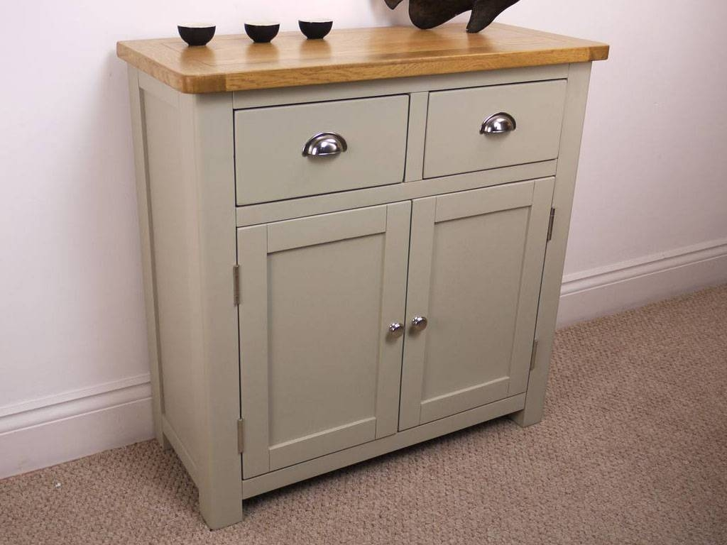 Aspen Painted Oak Sideboard / Solid Small 2 Door 2 Drawer Cupboard In Small Sideboards (View 1 of 30)