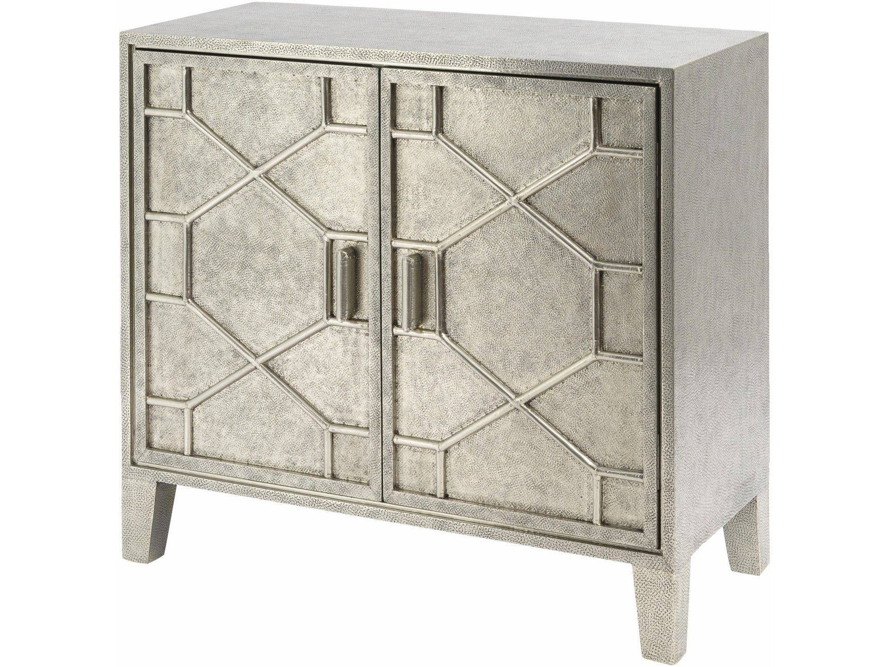 Astor Hand Embossed Metal 2 Door Cabinet | Metal Embossed Sideboards in Metal Sideboard Furniture (Image 1 of 30)