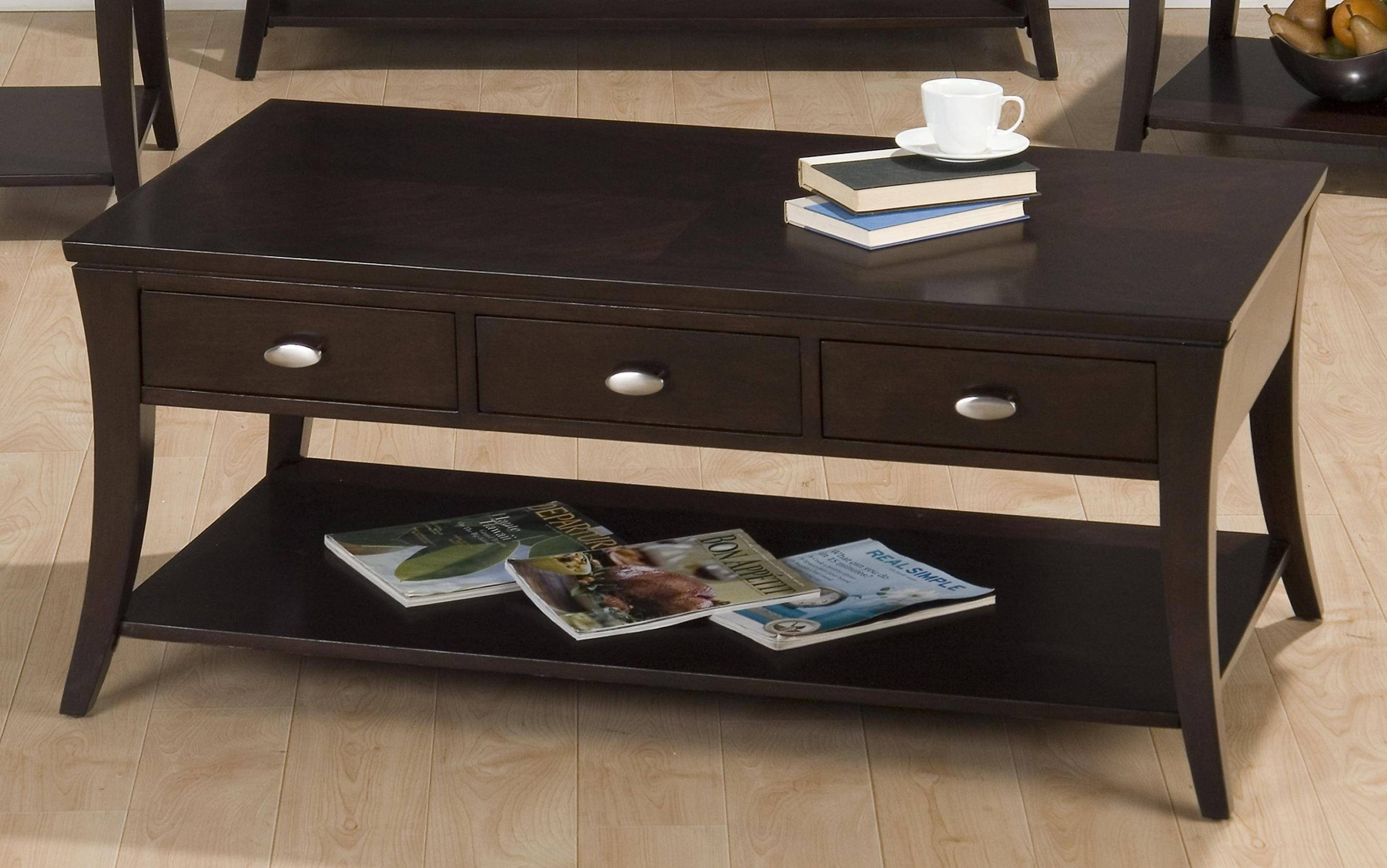 Attractive Contemporary Wooden Coffee Tables Accent Tables inside Coffee Tables With Shelves (Image 1 of 30)