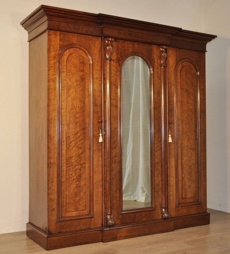 Attractive Large Antique Victorian Figured Mahogany Break Front for Large Antique Wardrobes (Image 4 of 15)