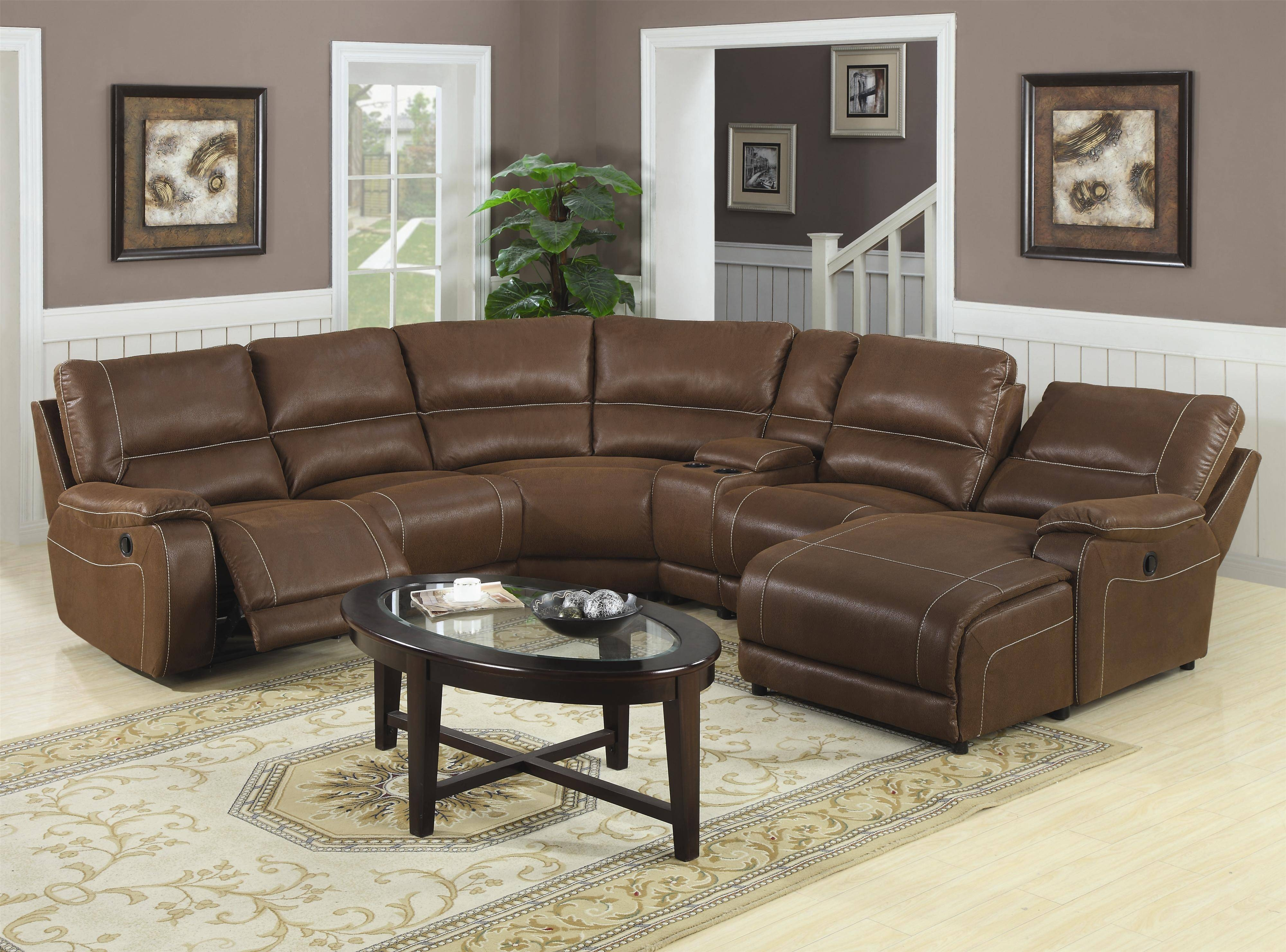 Attractive Sectional Recliner Sofas Microfiber 55 With Additional with Vintage Leather Sectional Sofas (Image 5 of 30)