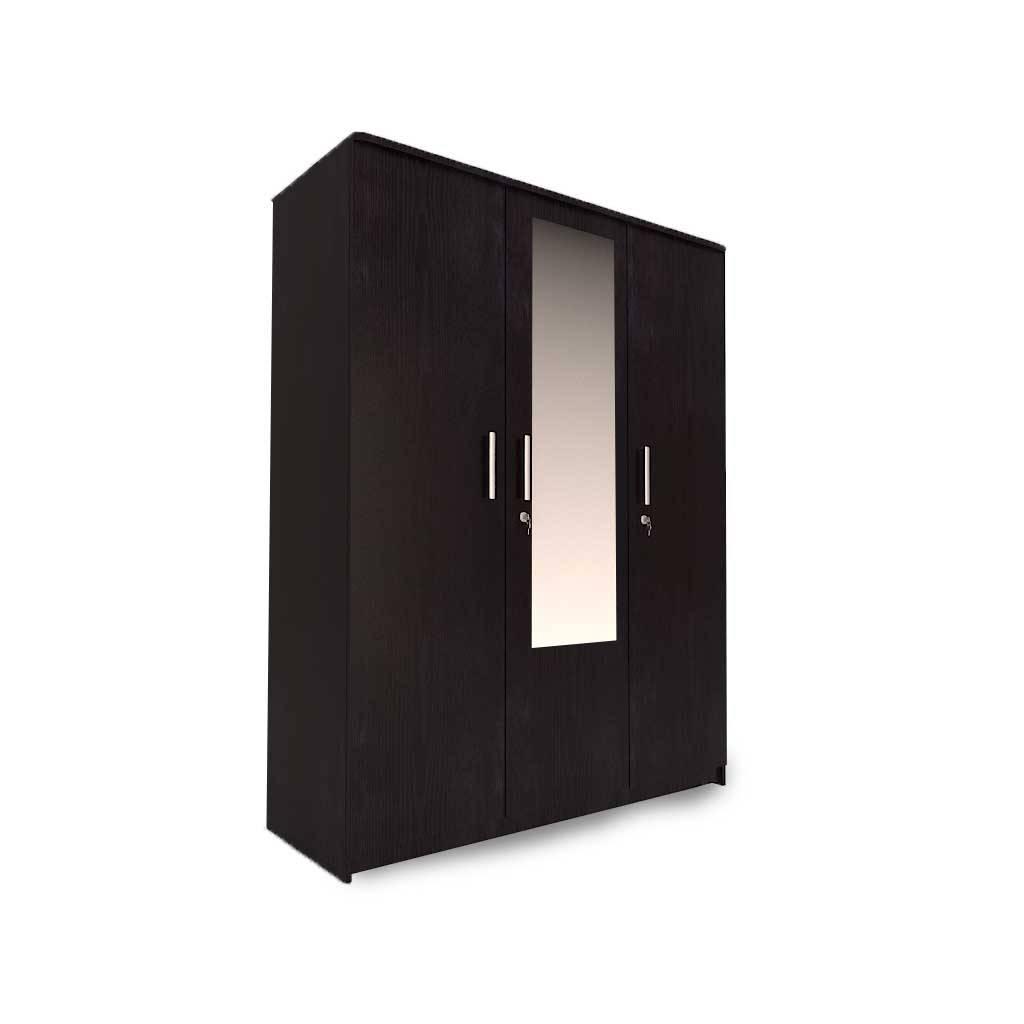 Aura-3 Door Wardrobe In Dark Wenge With Mirror - Woodys Furniture intended for Three Door Mirrored Wardrobes (Image 2 of 15)