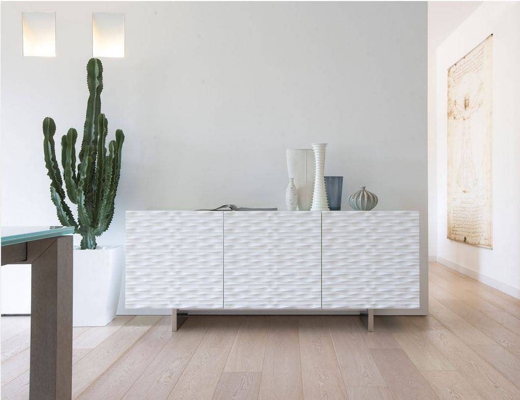 Aura180 Sideboard With 3 Matt Lacquered Wooden Doors (Multiple throughout Contemporary White Sideboards (Image 2 of 30)