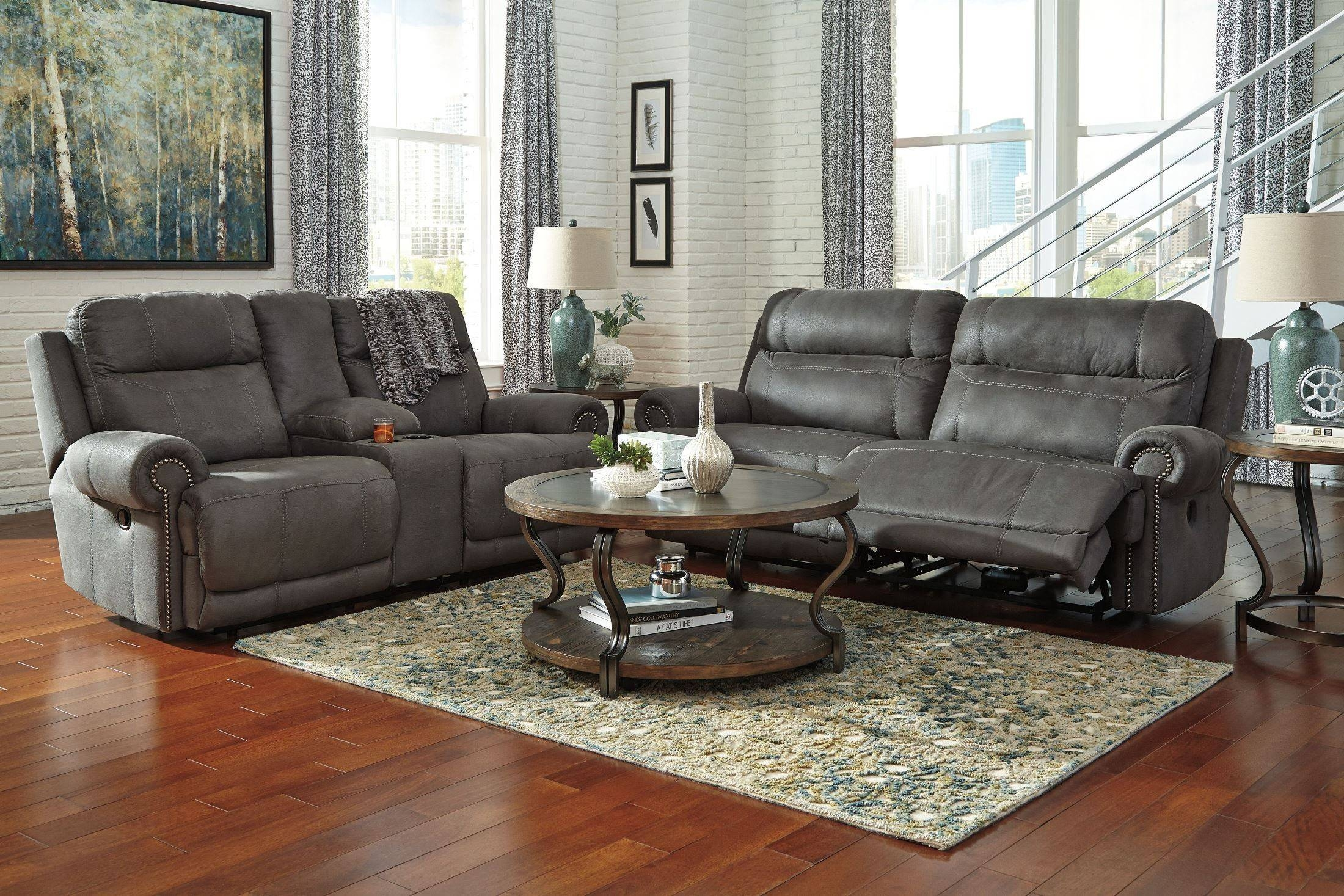 Austere Gray Reclining Living Room Set From Ashley (3840181 for Ashley Furniture Gray Sofa (Image 12 of 30)