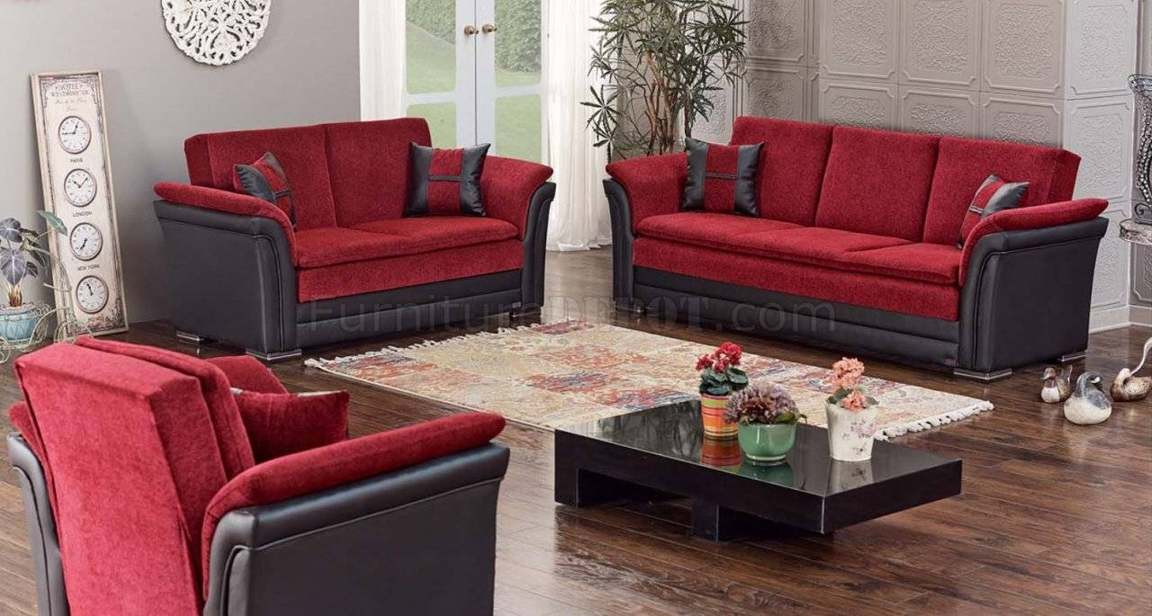Austin Sofa Bed Convertible In Red & Blackempire W/options inside Sofa Red and Black (Image 5 of 25)