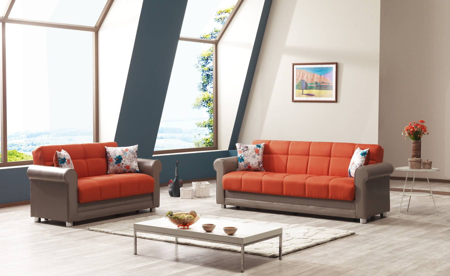 Avalon Prusa Orange Sofa Avalon Casamode Furniture Fabric Sofas At with regard to Fabric Sofas (Image 1 of 30)
