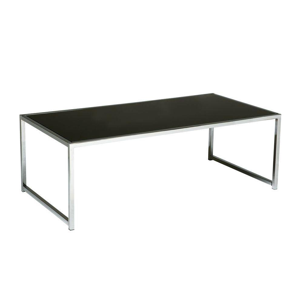 Ave Six Yield Chrome And Black Glass Coffee Table-Yld12 - The Home throughout Black Glass Coffee Tables (Image 3 of 30)