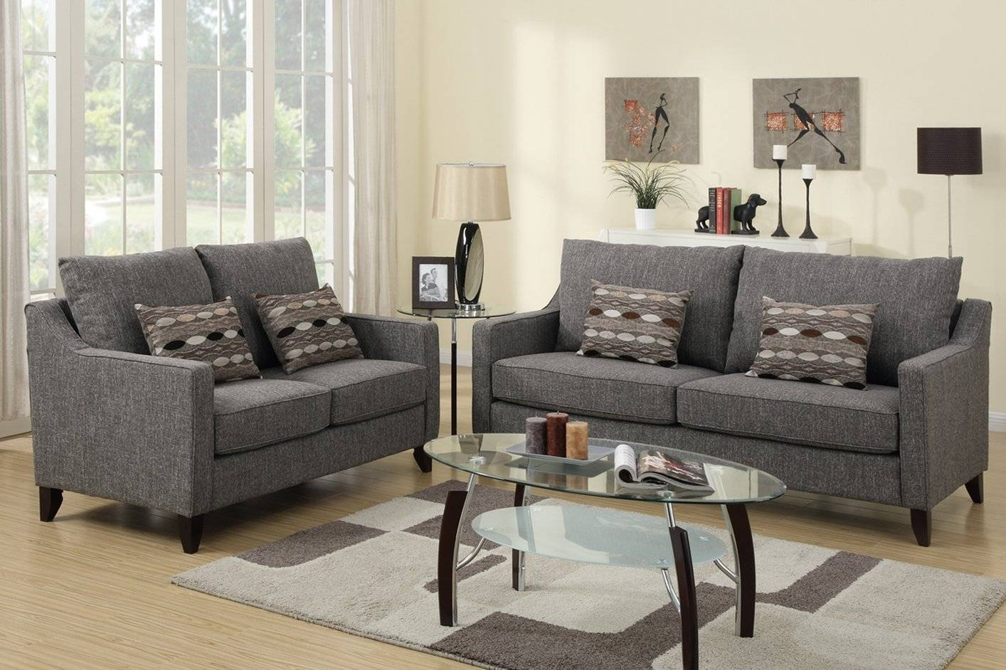 Avery Grey Fabric Sofa And Loveseat Set - Steal-A-Sofa Furniture for Sofa Loveseat And Chairs (Image 2 of 30)