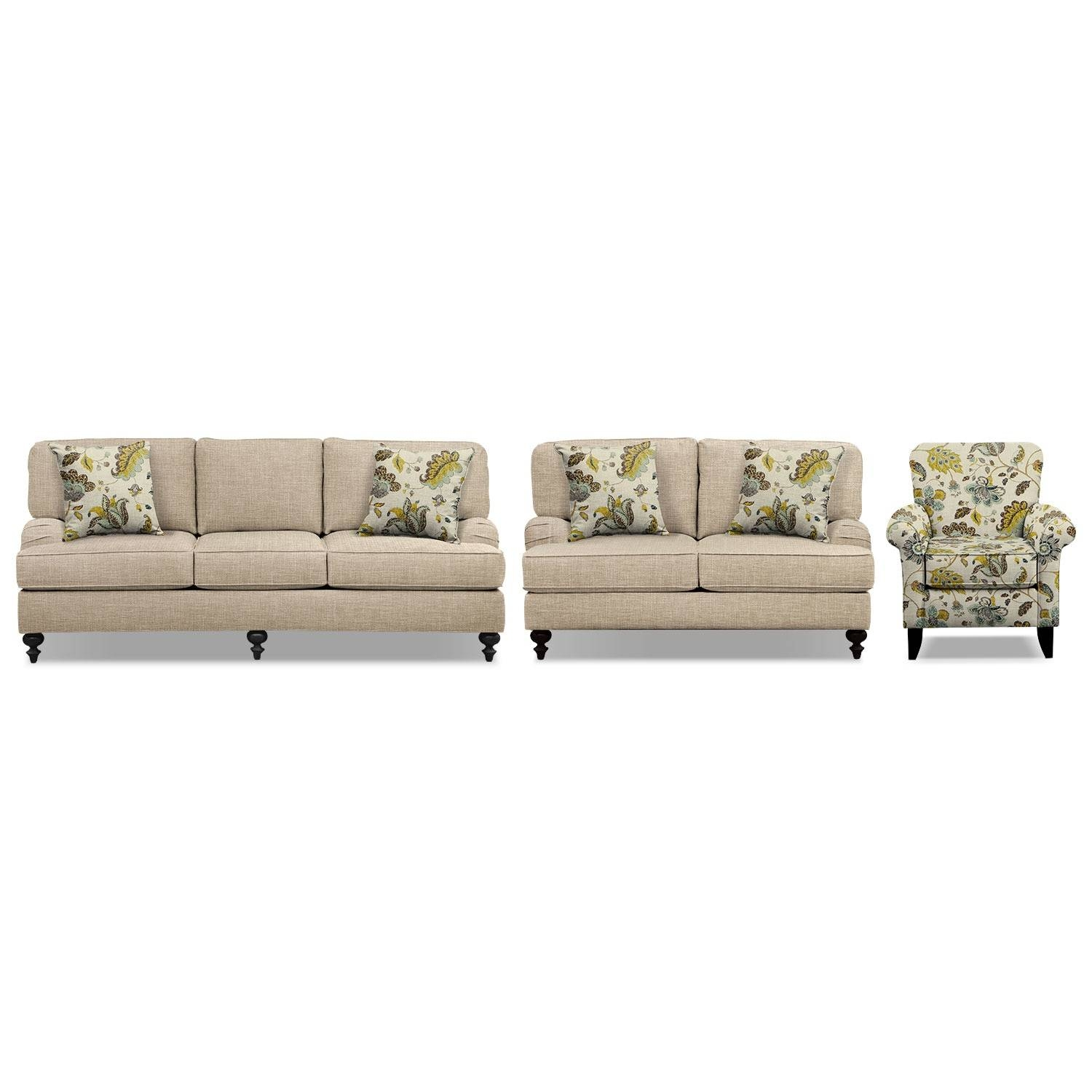"Avery Taupe 86"" Memory Foam Sleeper Sofa, 62"" Sofa And Accent intended for Sofa And Accent Chair Set (Image 5 of 30)"