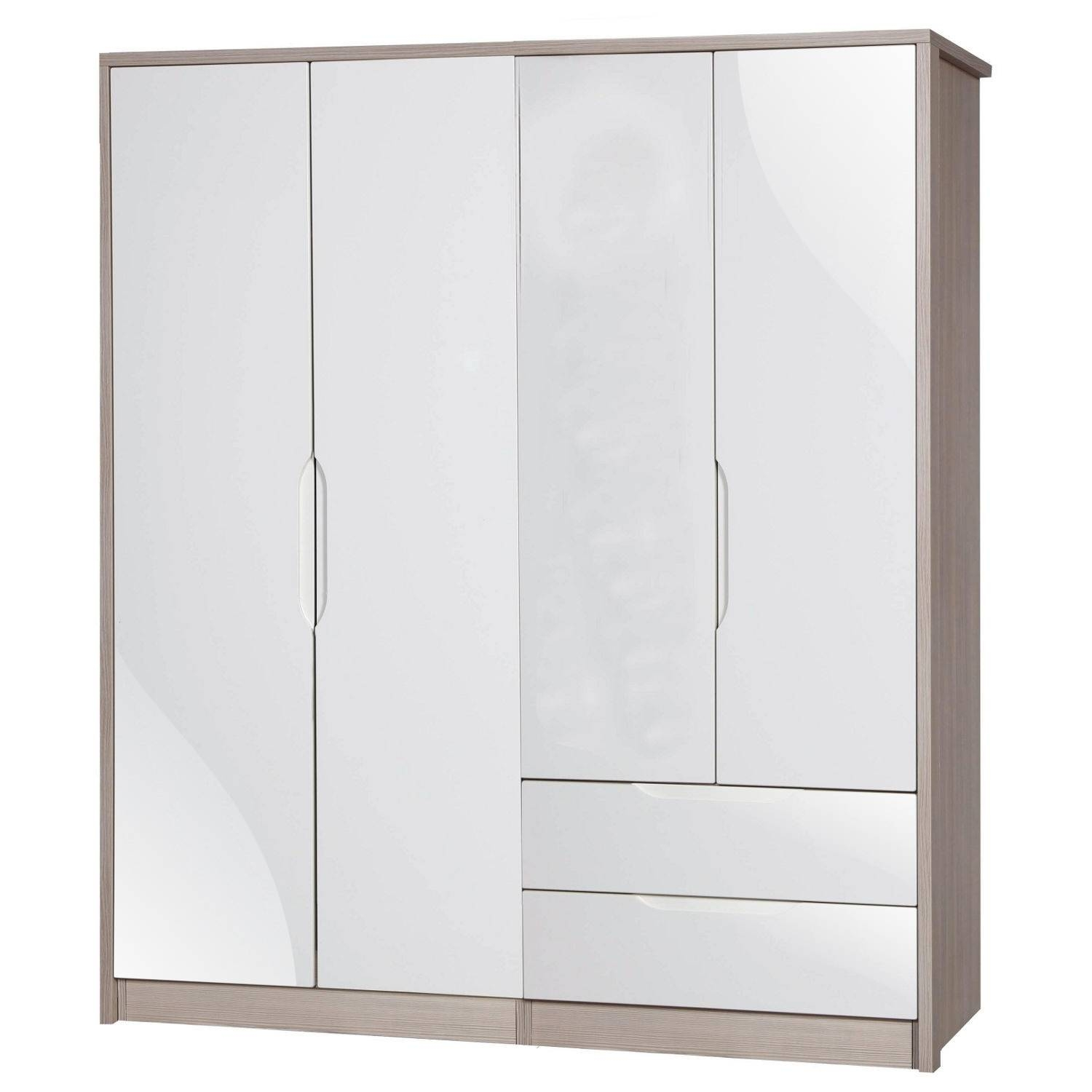 Avola Cream Gloss Large Combi Wardrobe – Next Day Delivery Avola For Combi Wardrobes (Photo 4 of 15)