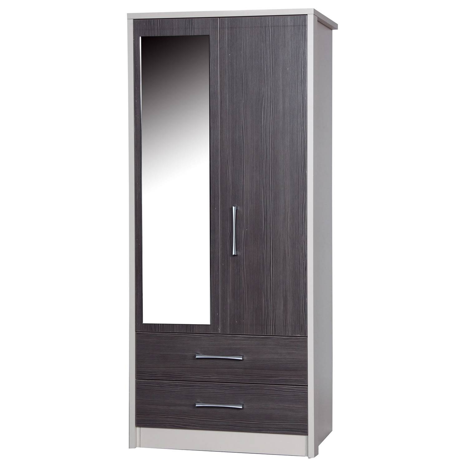 Avola Grey 2 Door 2 Drawer Combi Wardrobe With Mirror – Next Day for Wardrobes With Mirror And Drawers (Image 1 of 15)