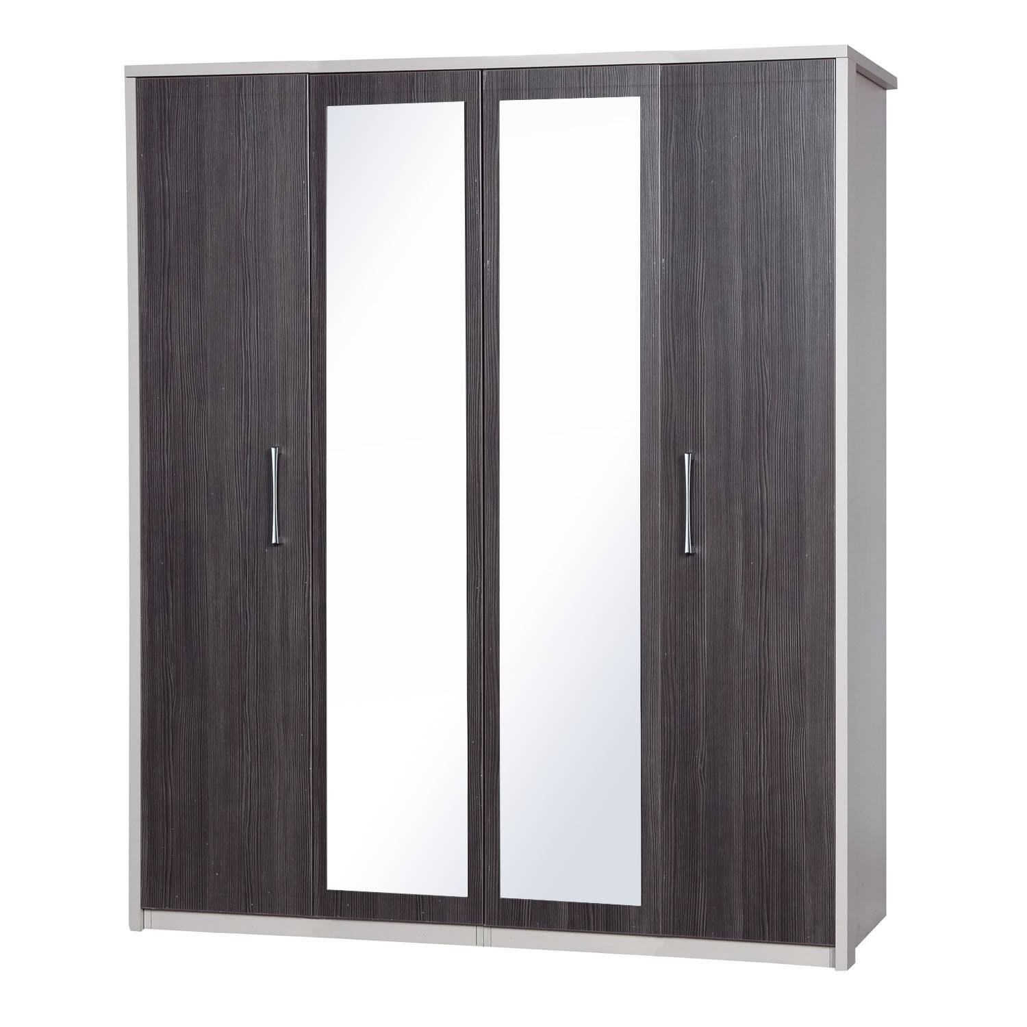 Avola Grey 4 Door Wardrobe With Mirror – Next Day Delivery Avola with 4 Door Wardrobes (Image 3 of 15)