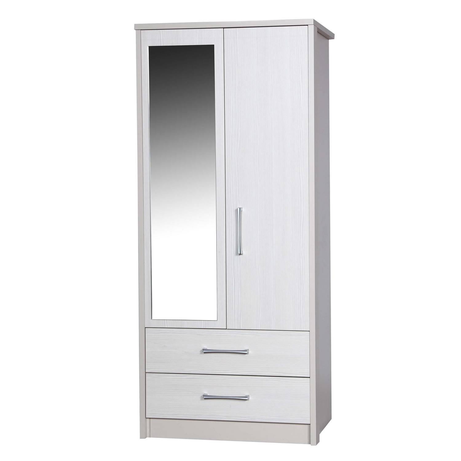 Avola White 2 Door 2 Drawer Combi Wardrobe With Mirror – Next Day intended for Wardrobes With Mirror and Drawers (Image 2 of 15)