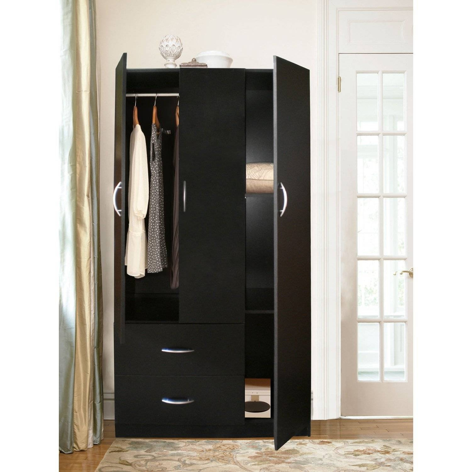 Awesome Dark Brown Mahogany Wood Armoire Wardrobe Storage Cabinet with regard to Dark Wood Wardrobe Closet (Image 2 of 30)