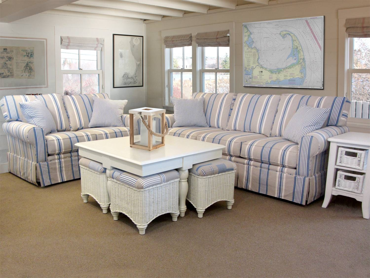 Awning Stripe Sofa | Barbos Furniture with Striped Sofas And Chairs (Image 4 of 30)