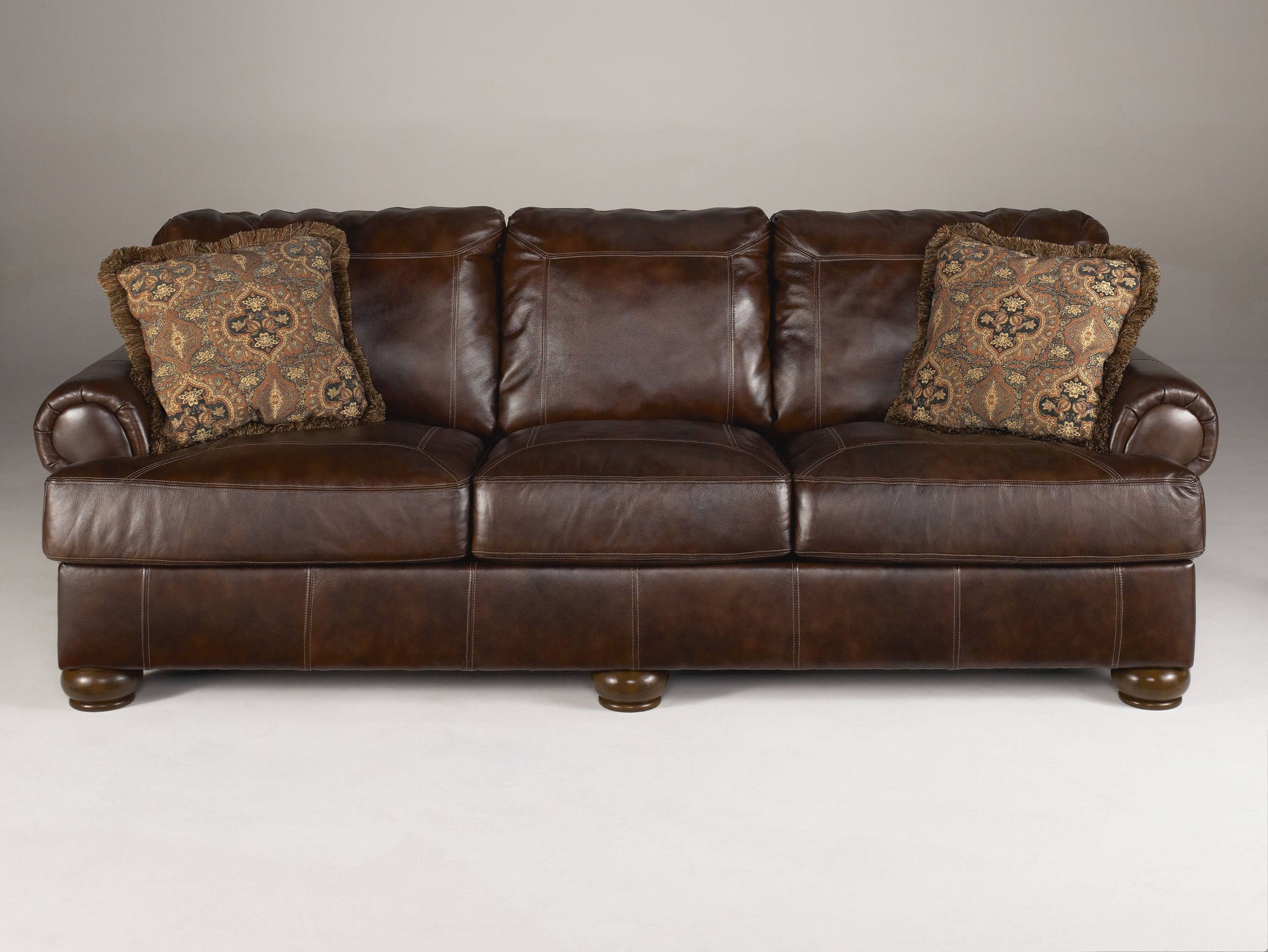 Axiom Traditional Walnut Leather Wood Sofa | Living Rooms | The within Traditional Leather Couch (Image 1 of 30)