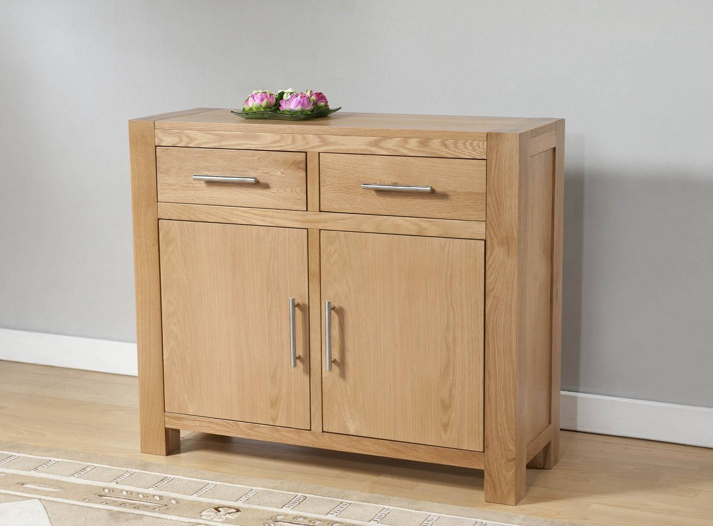 Aylesbury Contemporary Light Oak Small Sideboard | Oak Furniture Uk with regard to Small Wooden Sideboards (Image 4 of 30)
