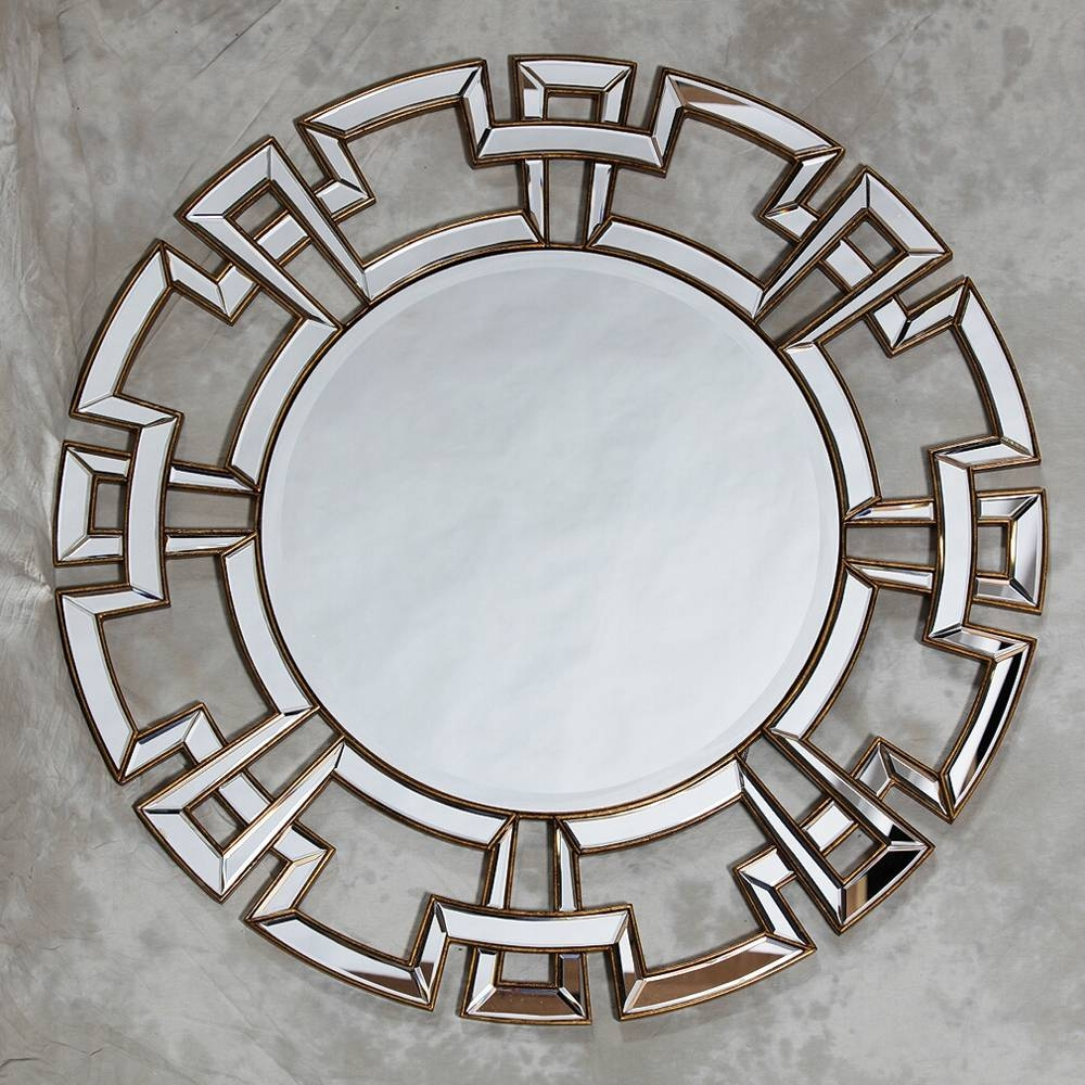 Aztec Design Deep Gold Large Round Wall Mirror 120 X 120 Cm Aztec with Gold Venetian Mirrors (Image 3 of 25)