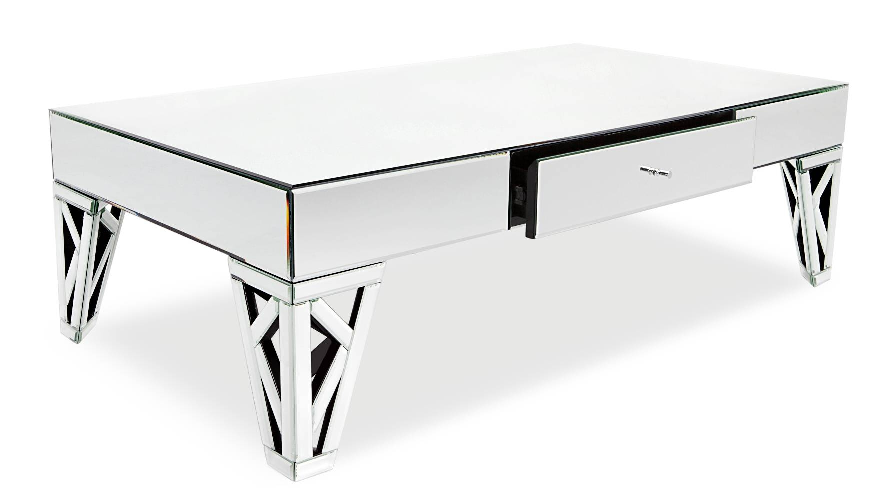 Azure Mirrored Glass Coffee Table | Zuri Furniture throughout Coffee Tables Mirrored (Image 4 of 30)