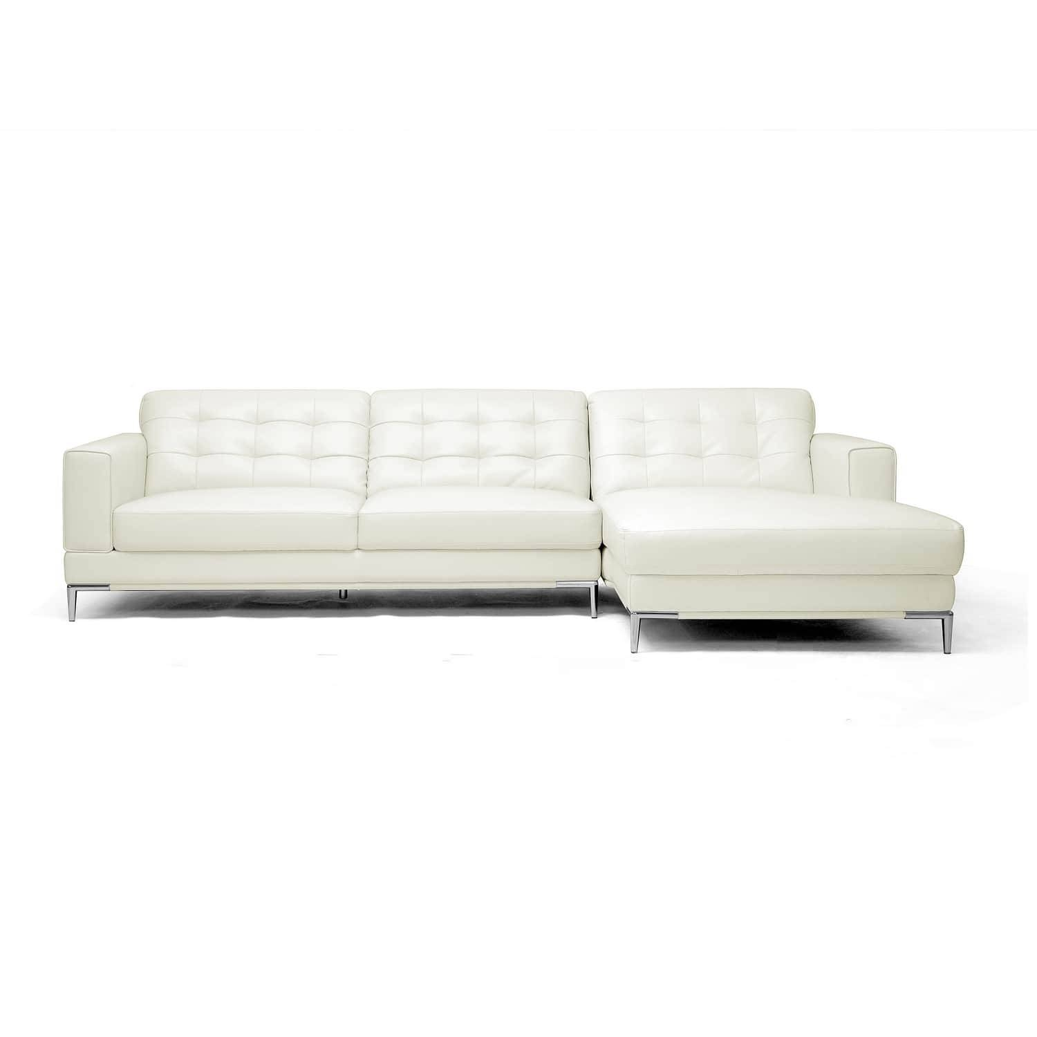 Babbitt Sleek Ivory Leather Modern Sectional Sofa - Free Shipping regarding Sleek Sectional Sofa (Image 3 of 25)
