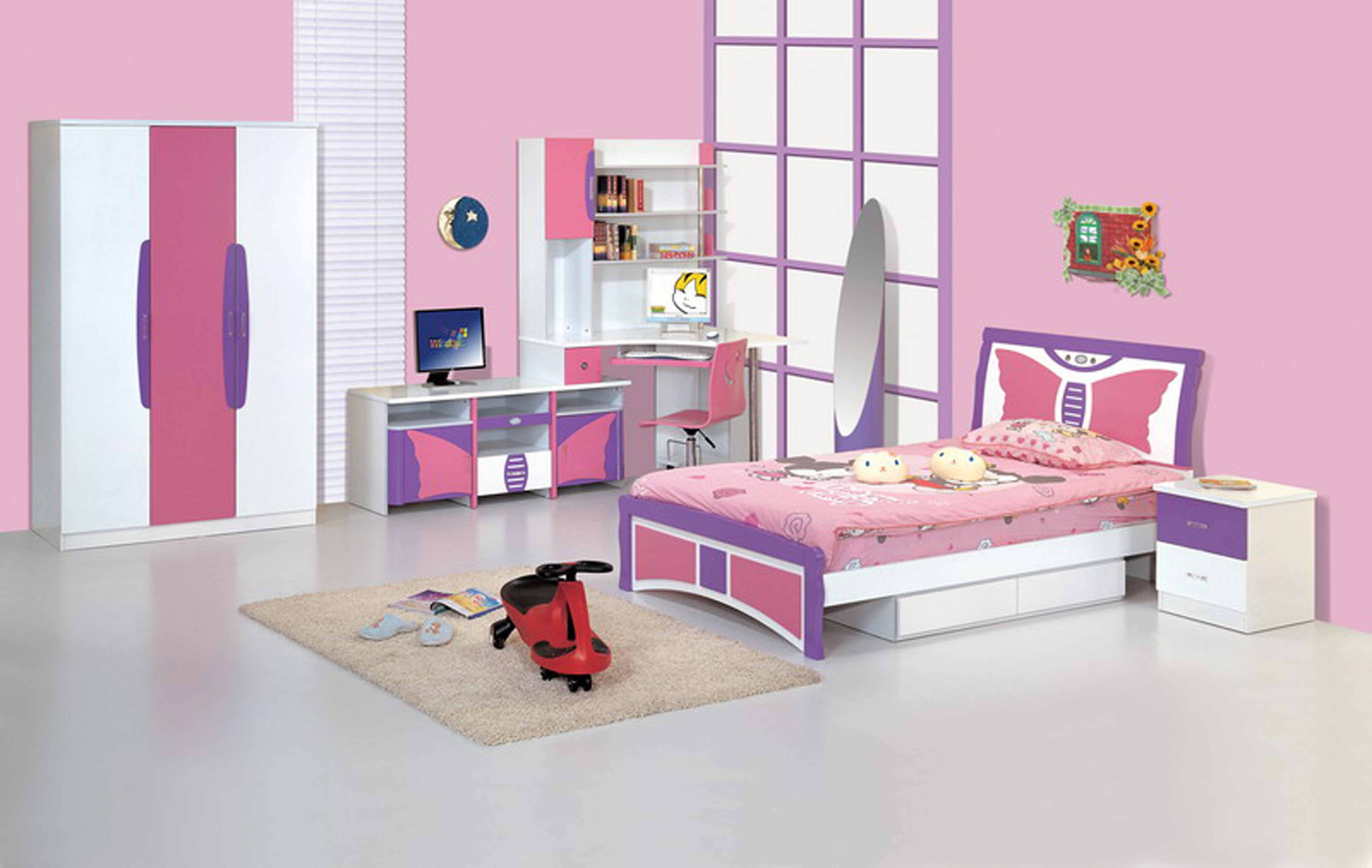 Baby Nursery. Modern Bedroom To Go Design With Comfort Bedding for Childrens Pink Wardrobes (Image 1 of 30)