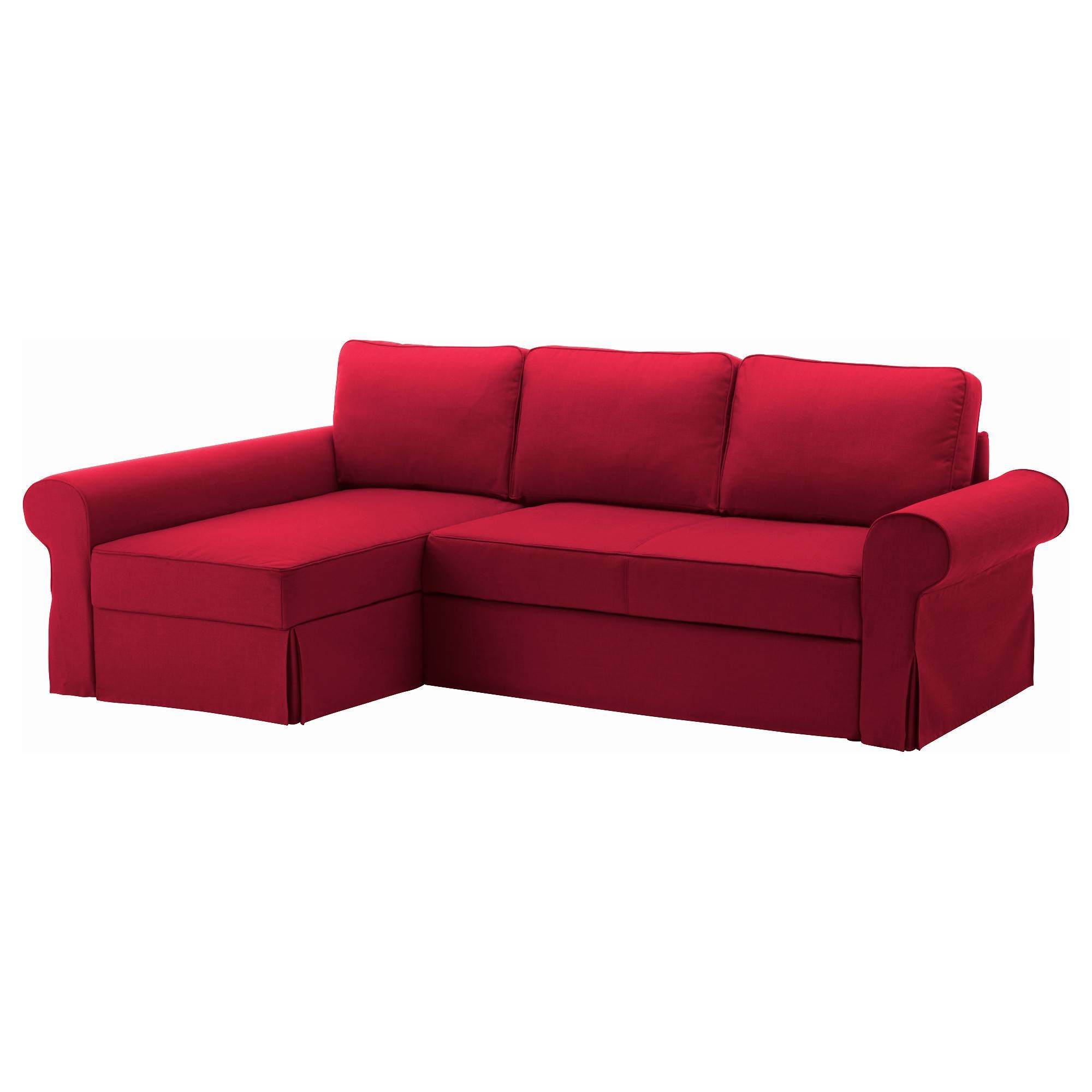 Backabro Sofa Bed With Chaise Longue Nordvalla Red - Ikea pertaining to Ikea Chaise Lounge Sofa (Image 2 of 30)
