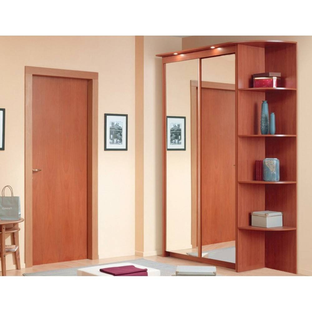Baikal Mirror Sliding Doors Wardrobe With Corner Shelf | Cherry inside Corner Mirror Wardrobes (Image 3 of 15)
