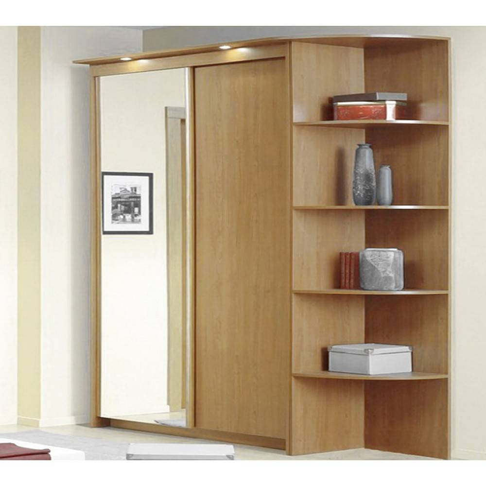 Baikal Solid And Mirror Sliding Doors Wide Wardrobe With Corner with regard to Corner Mirror Wardrobes (Image 4 of 15)
