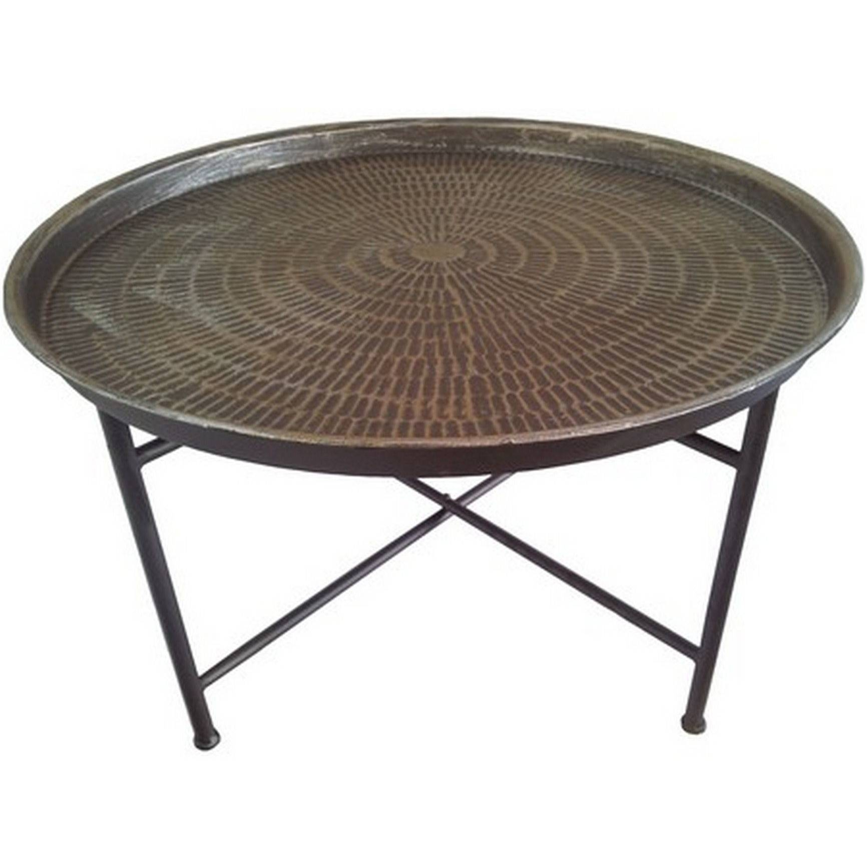 Bali Hammered Metal Round Coffee Table - Cotterell & Co. Online intended for Metal Coffee Tables (Image 3 of 30)