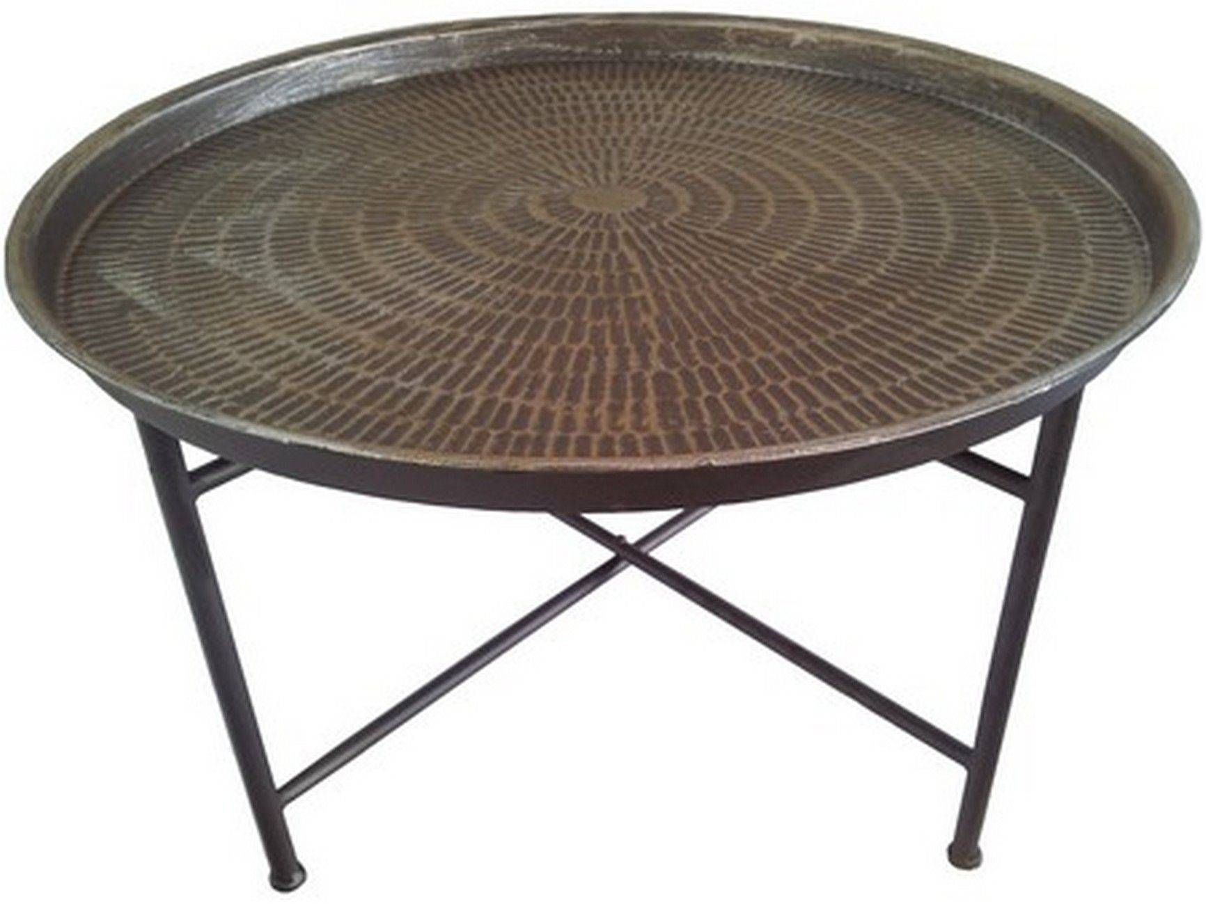 Bali Hammered Metal Round Coffee Table - Cotterell & Co. Online pertaining to Round Chrome Coffee Tables (Image 2 of 30)