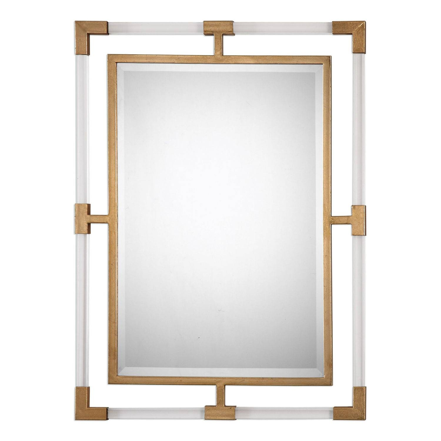 Balkan Modern Gold Wall Mirror Uttermost Wall Mirror Mirrors Home with regard to Modern Gold Mirrors (Image 5 of 25)