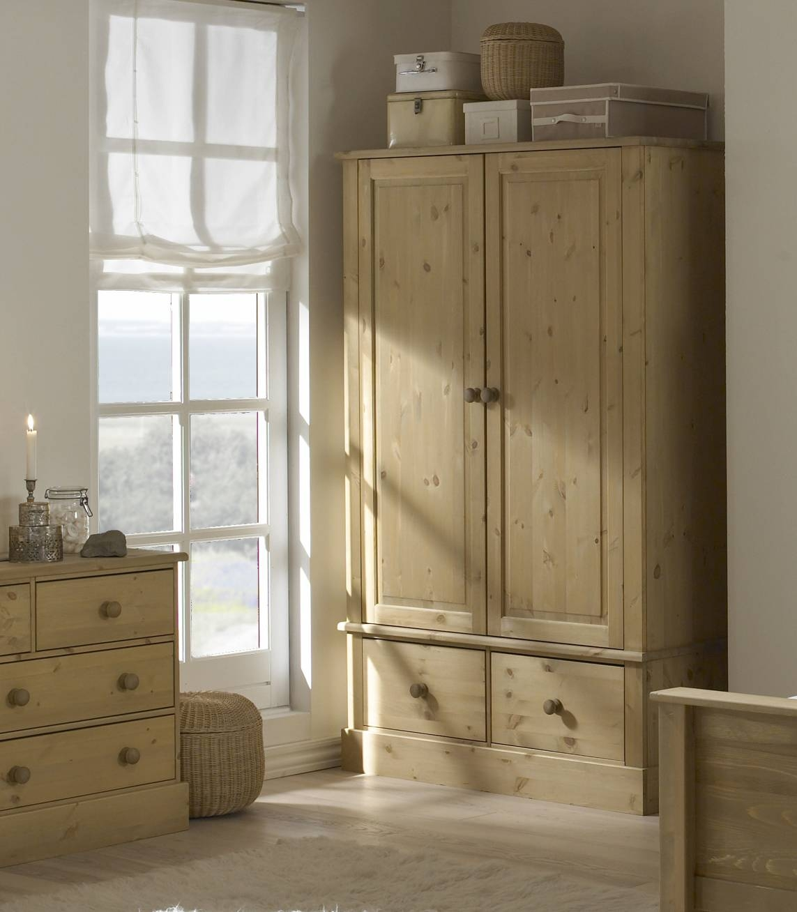 Balmoral Pine Bedroom Furniture, Chest Of Drawers, Wardrobe intended for Double Rail Wardrobe With Drawers (Image 5 of 30)