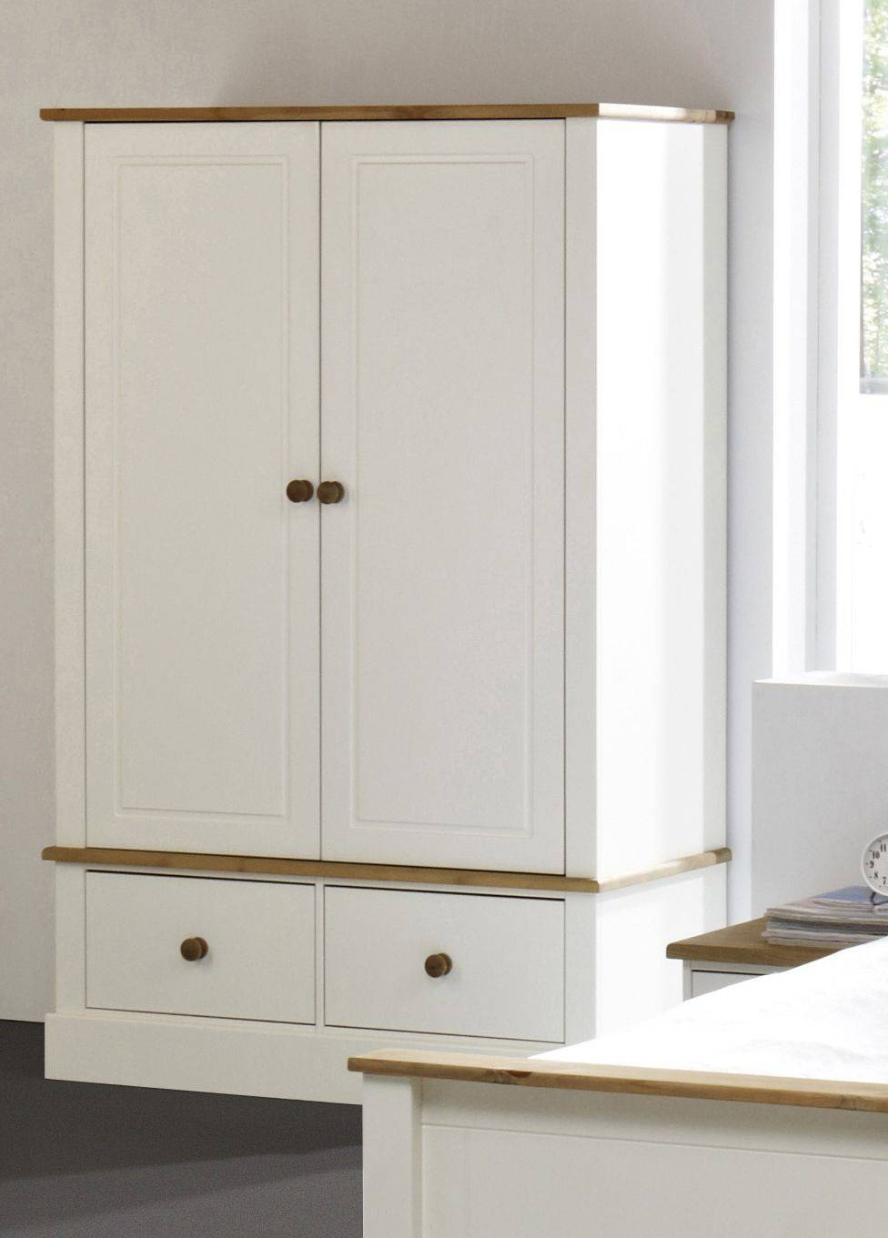 Balmoral White Double Wardrobe With 2 Drawers | Bedroom Furniture within Double Wardrobes (Image 1 of 15)