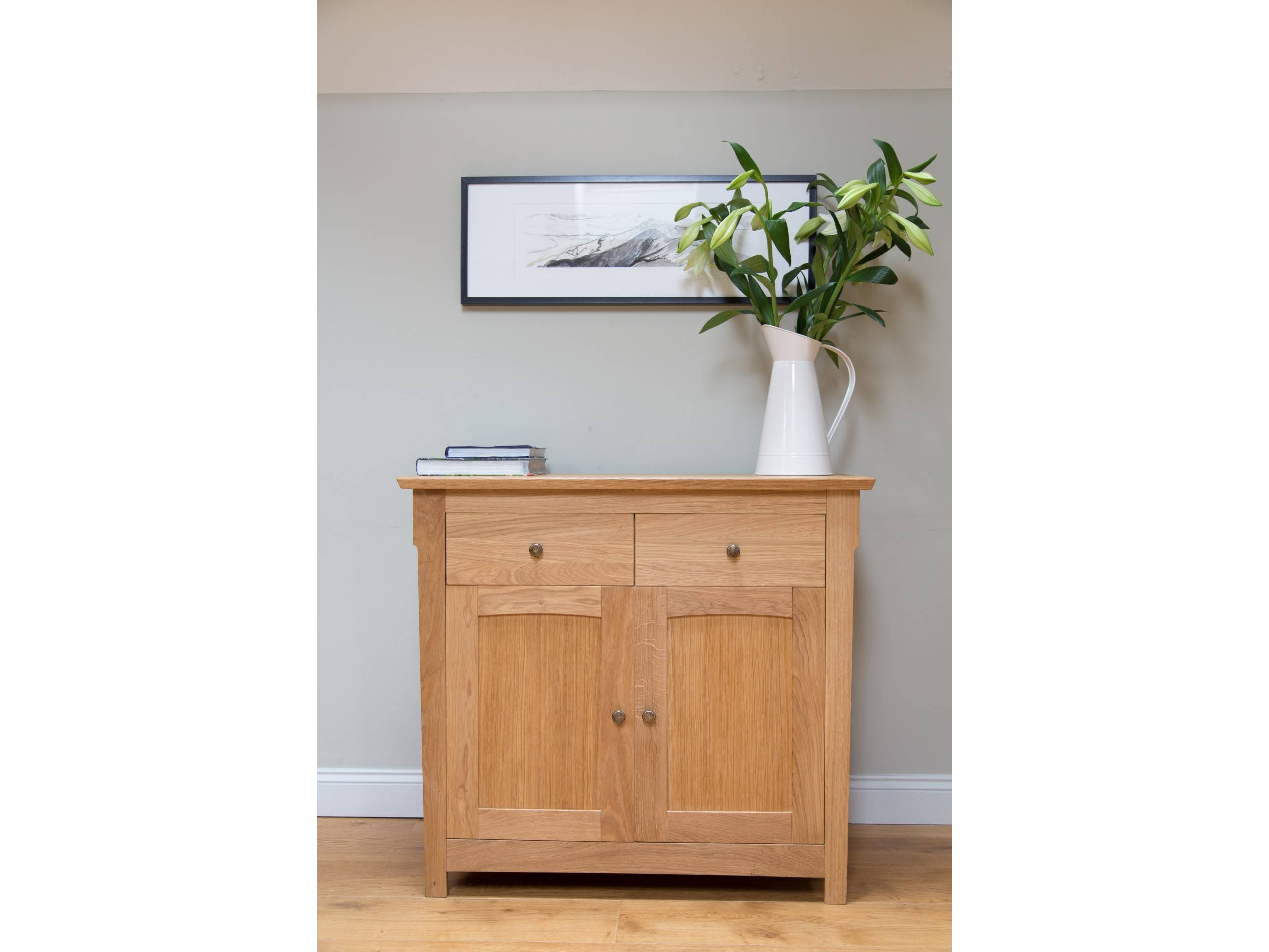 Baltic Small Oak Sideboard - 100Cm Wide | Small Wooden Sideboard with Small Wooden Sideboards (Image 5 of 30)