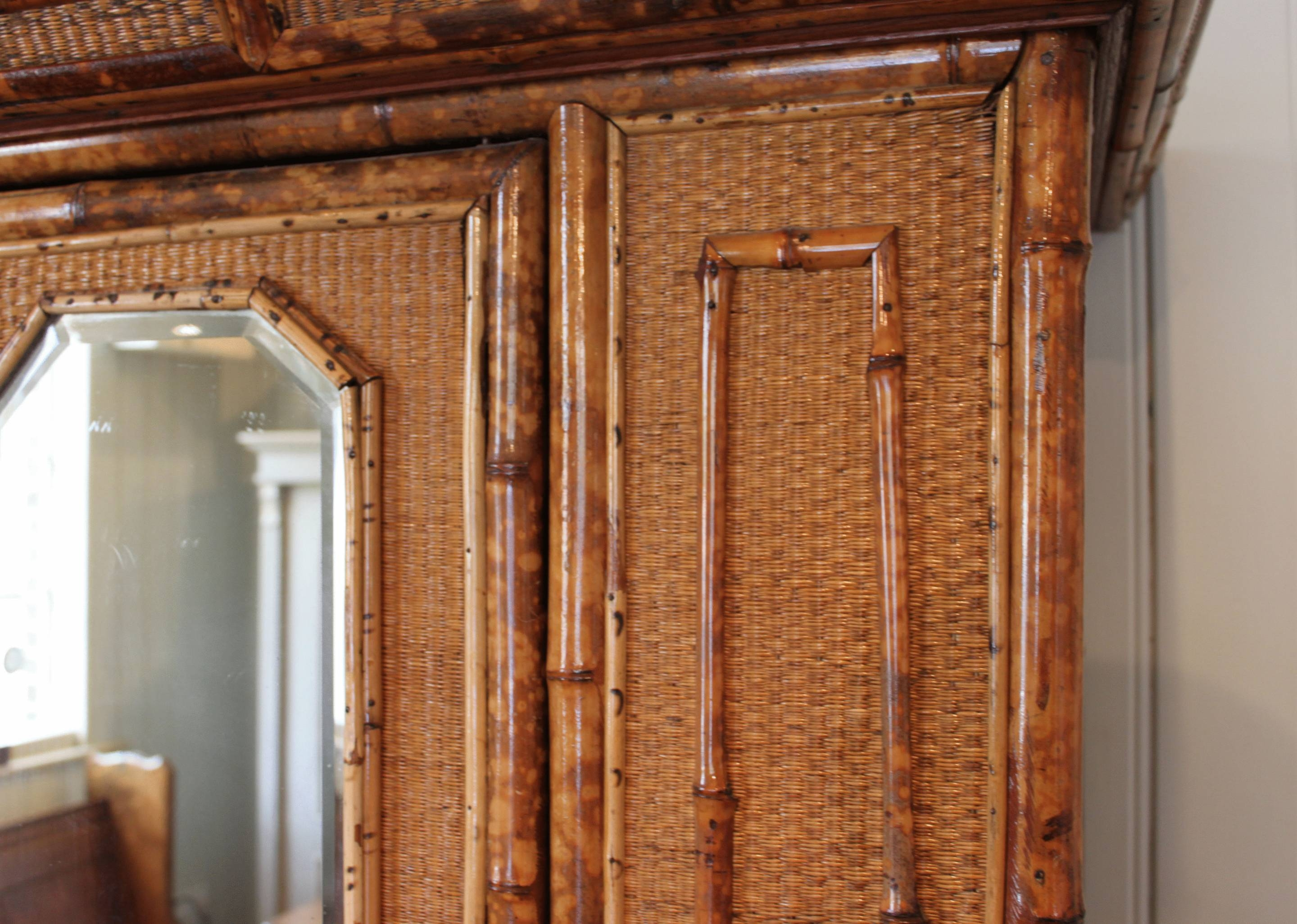 Bamboo And Rattan Wardrobe (C. 1890 England) From Worboys Antiques pertaining to Rattan Wardrobes (Image 4 of 15)