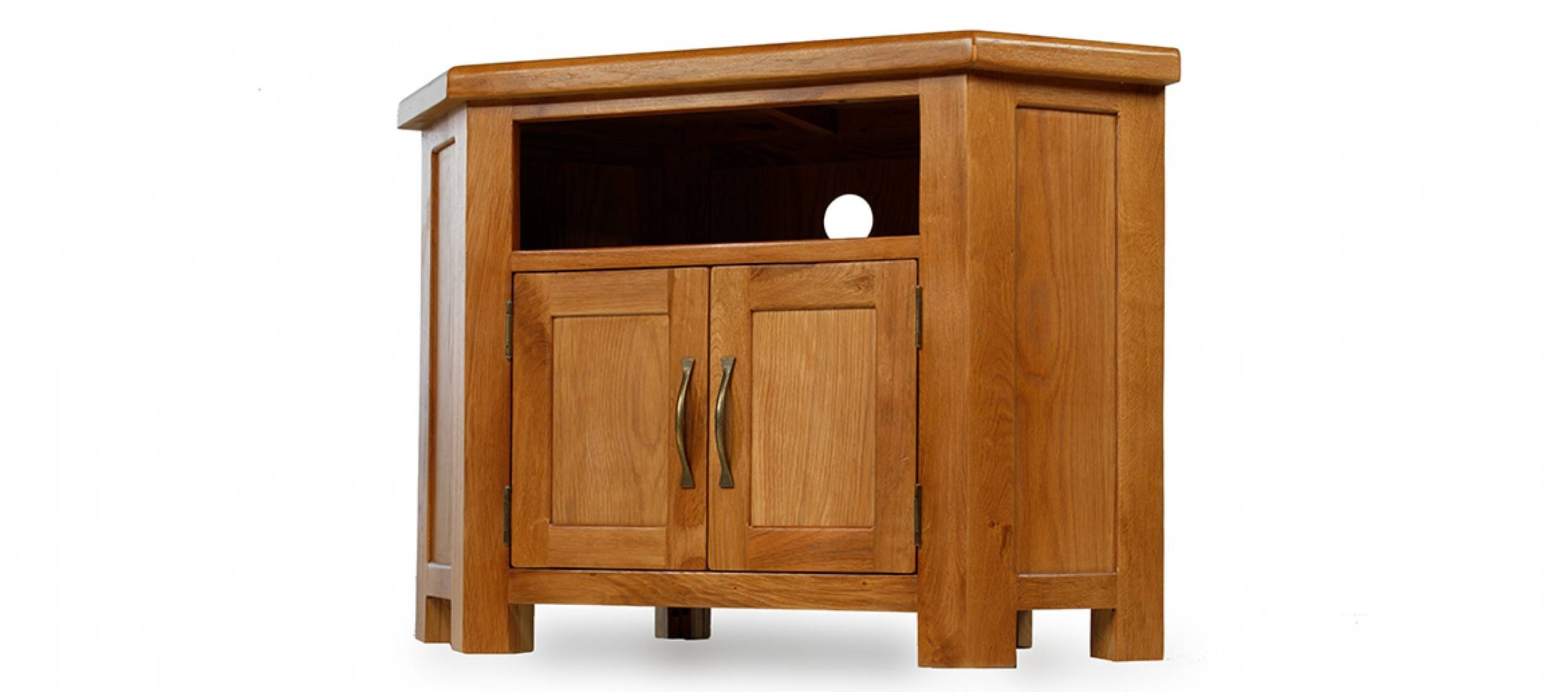 Barham Oak Petite Corner Tv Unit | Quercus Living within Corner Sideboard Units (Image 4 of 30)