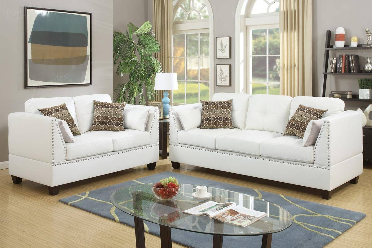 Barlo White Leather Sofa And Loveseat Set - Steal-A-Sofa Furniture with White Leather Sofas (Image 4 of 30)