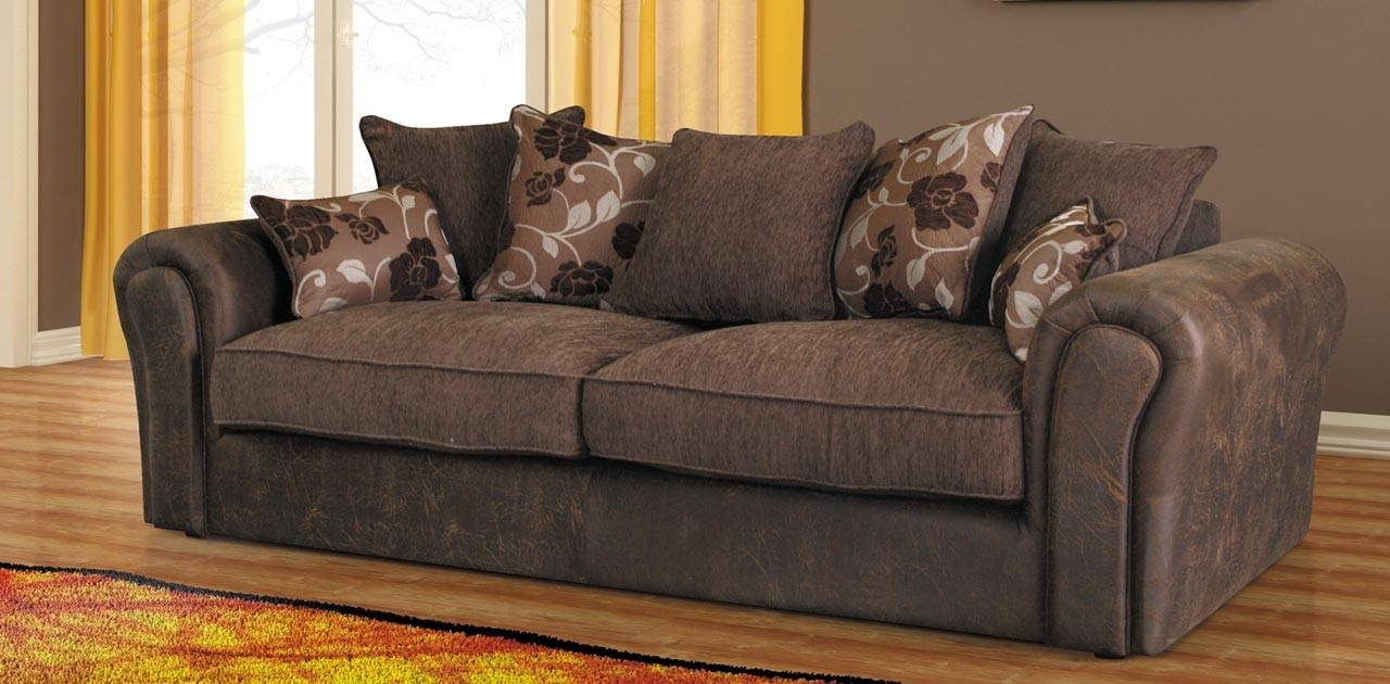 Baron Sofa Brown 3 Seater Sofa - Fabric Sofas with Three Seater Sofas (Image 6 of 30)