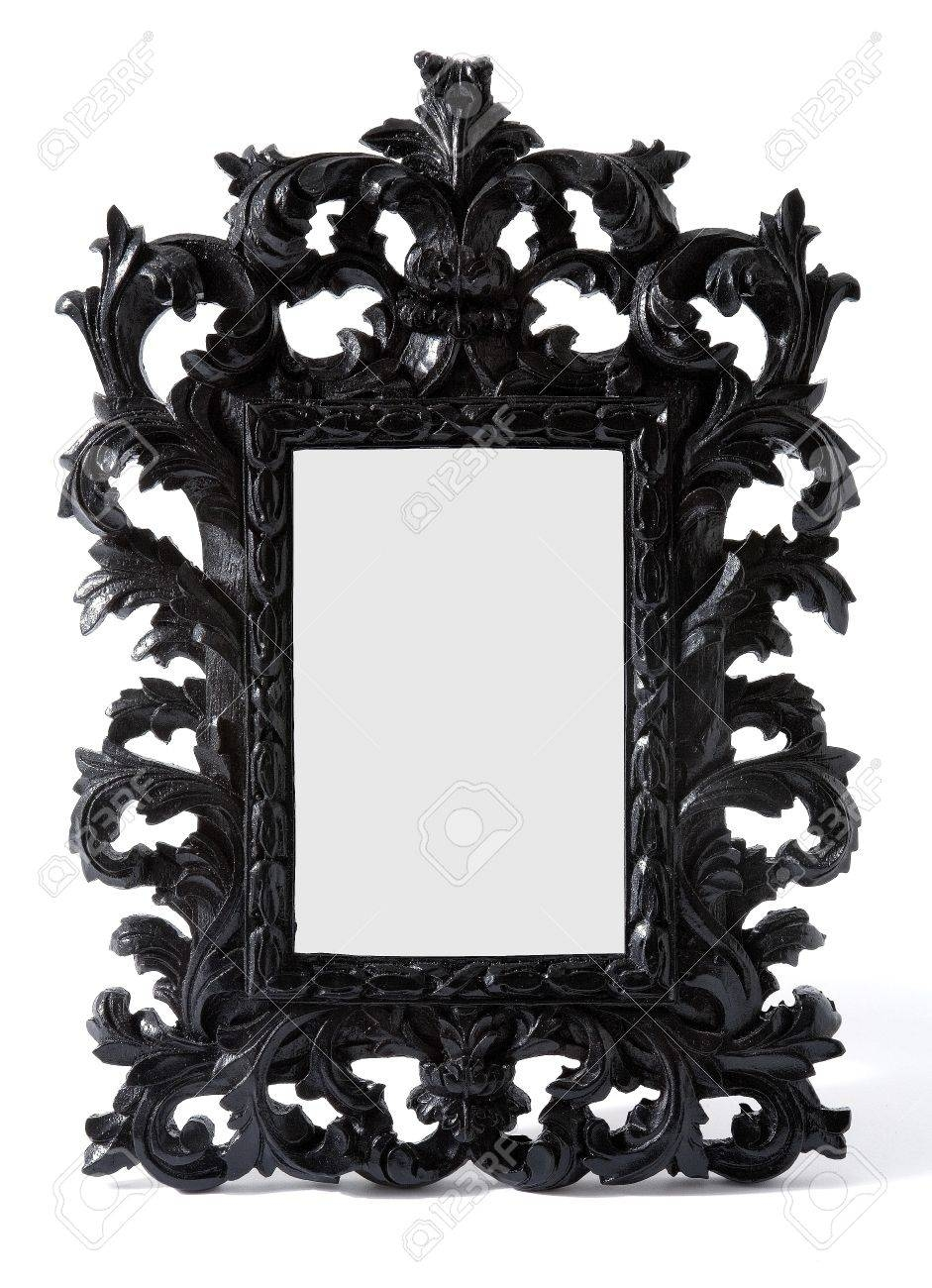 Baroque Black Painted Carved Wood Mirror Frame Isolated On White Intended For Black Baroque Mirrors (View 5 of 25)