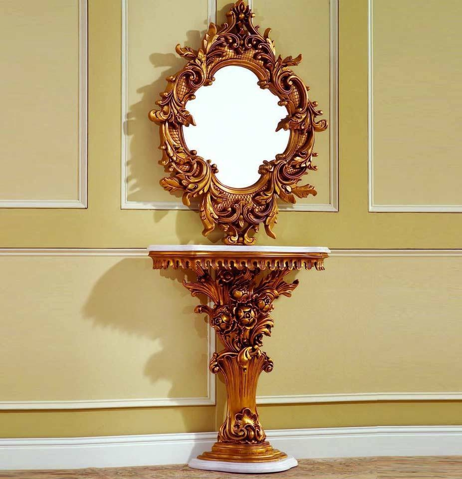 Baroque Console Table 02 | Hallway throughout Small Baroque Mirrors (Image 4 of 25)