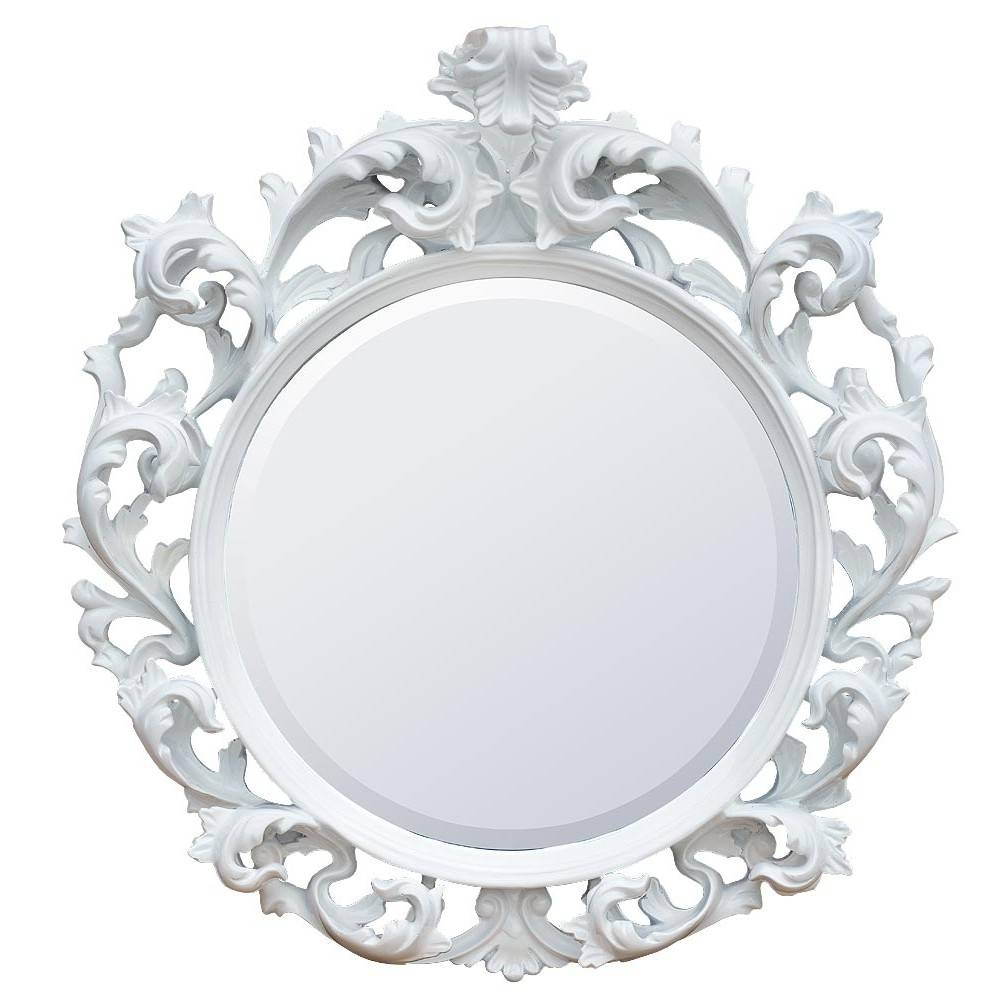 Baroque Gloss White Bevelled Circular Decorative Wall Bedroom Hall with regard to Baroque White Mirrors (Image 7 of 25)