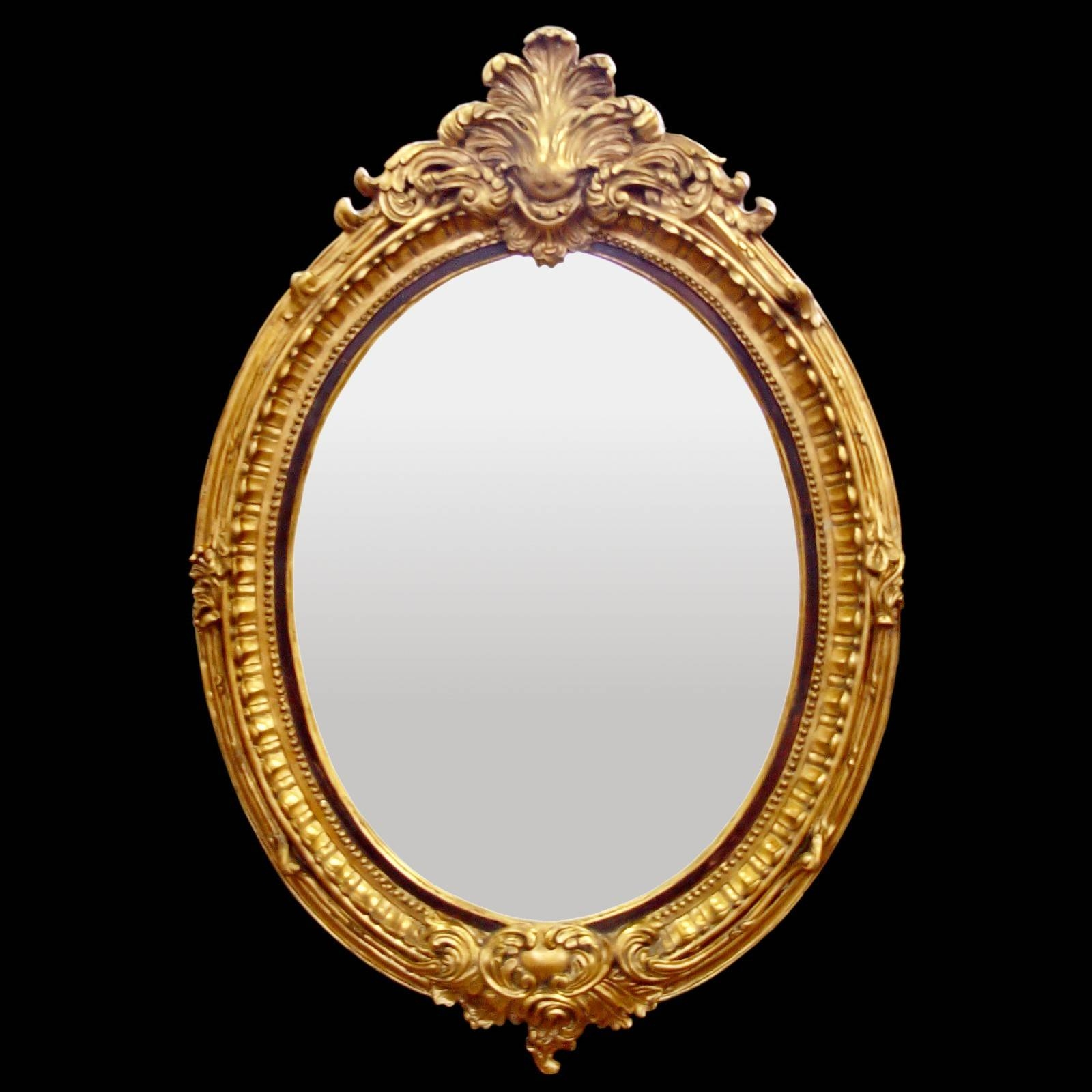 Baroque Hall Mirror Oval Wall Mirror Gold Color Red Leaf Motif in Baroque Style Mirrors (Image 5 of 25)