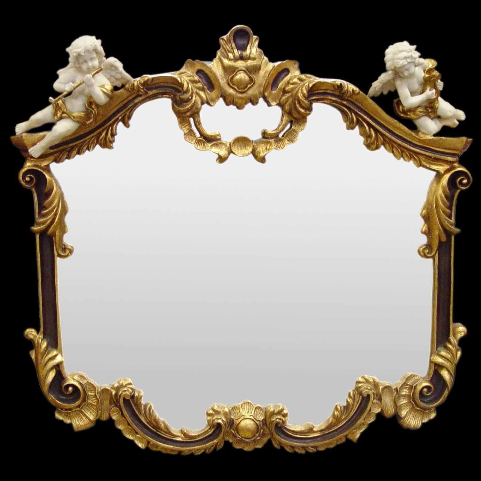 Baroque Mirror Wall Mirror Gold Red 2 White Music Angel Figurines inside White Baroque Wall Mirrors (Image 1 of 25)